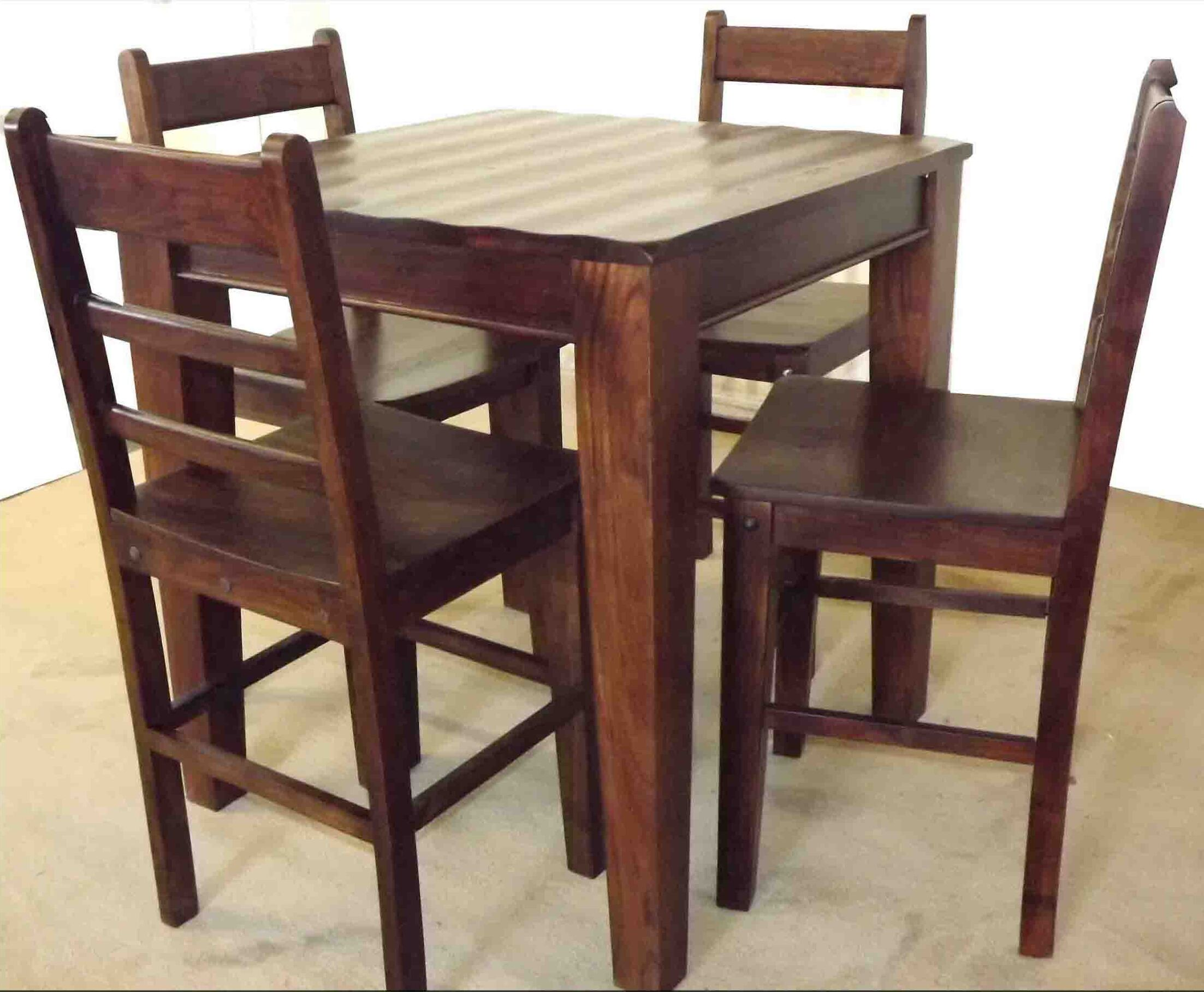 Dining Table Sets Wave 5 Piece Solid Wood Dining Set