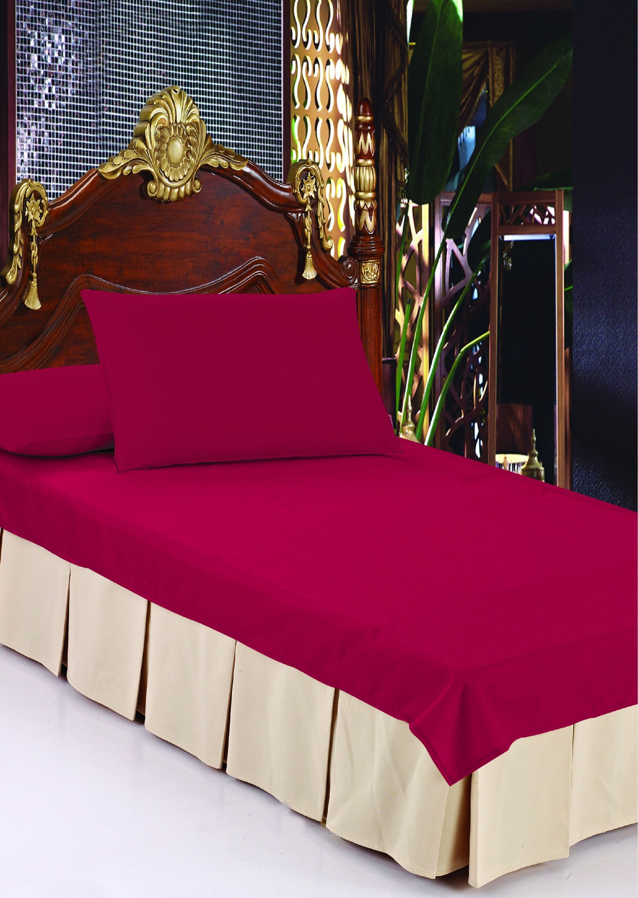 Double Pleats Luxurious Bed Ruffle Color: Sand, Size: Twin 44