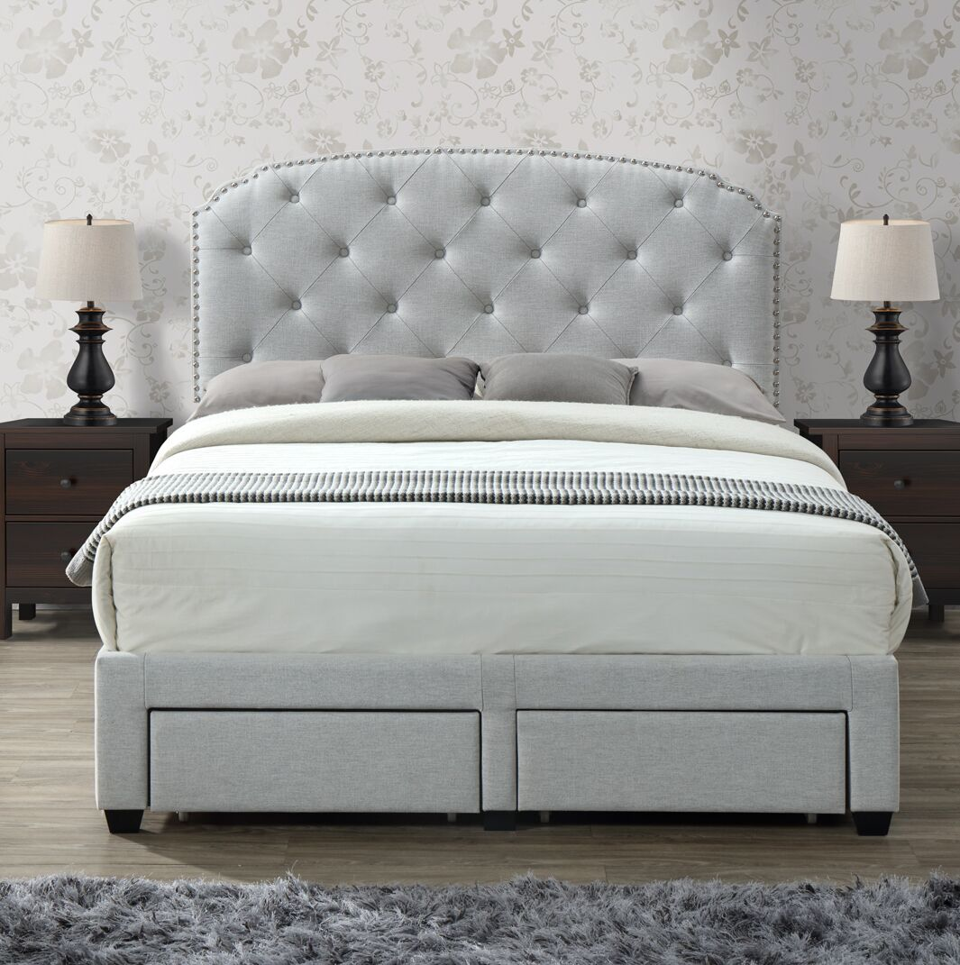 Darcie Upholstered Storage Panel Bed Size: Queen, Color: Platinum