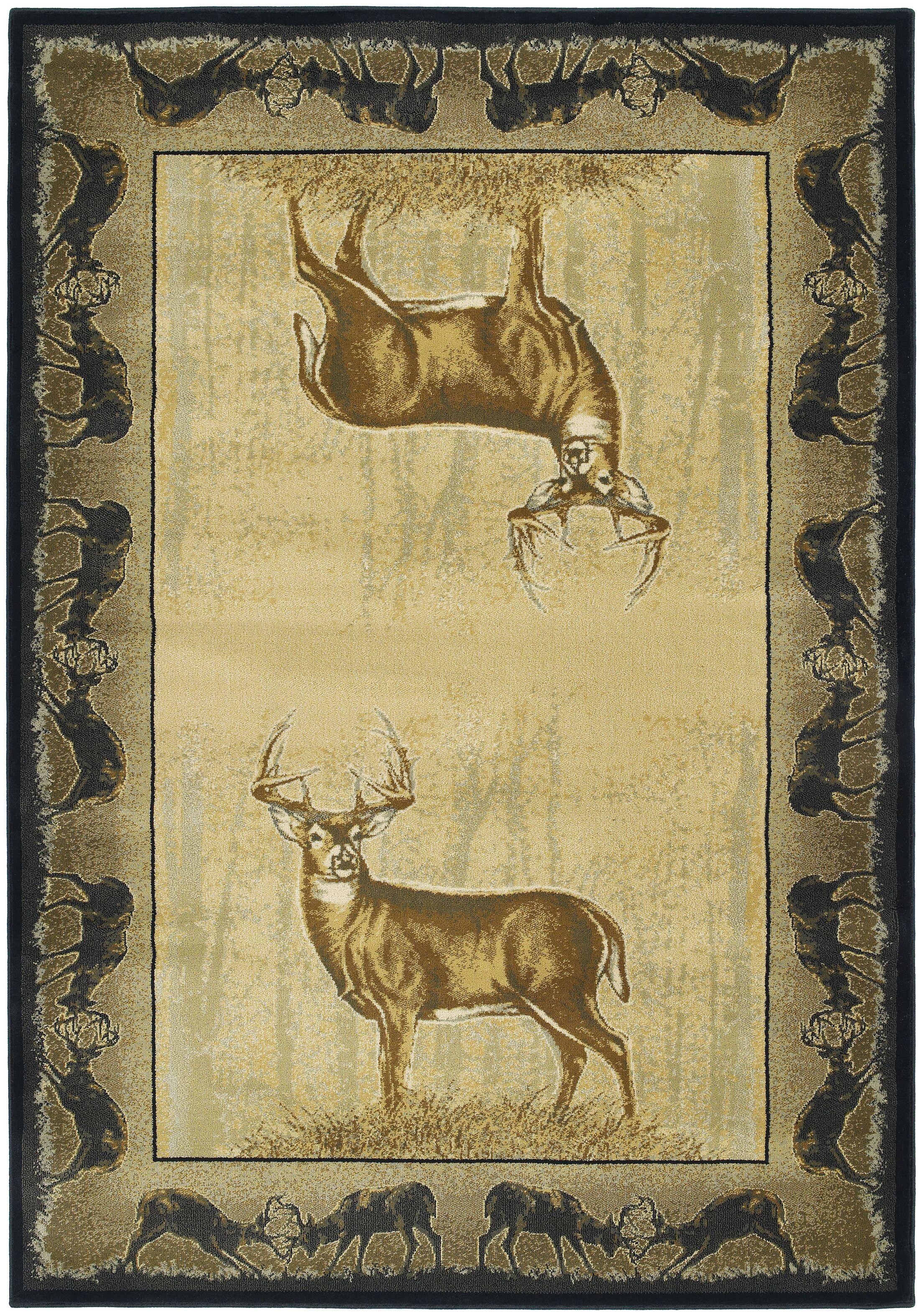 Buckwear Believe Deer Lodge Beige Novelty Rug Rug Size: 7'10
