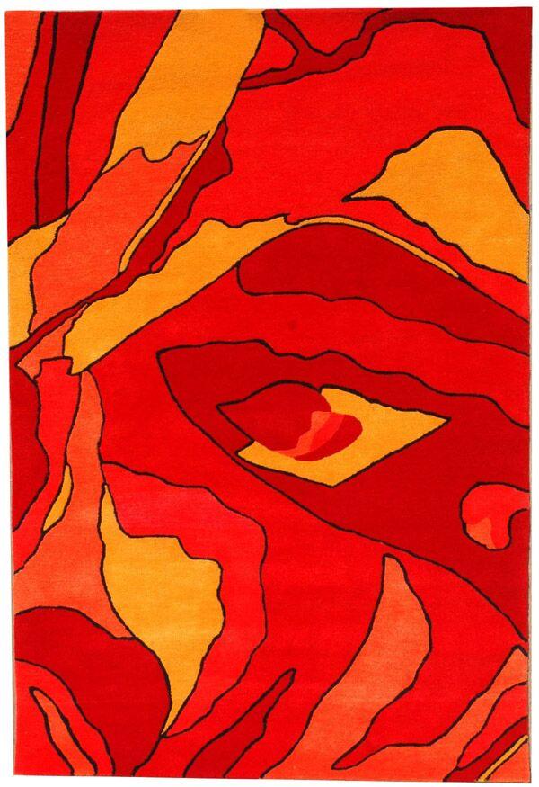 Contempo Red/Dark Cream Area Rug Rug Size: 5' x 8'