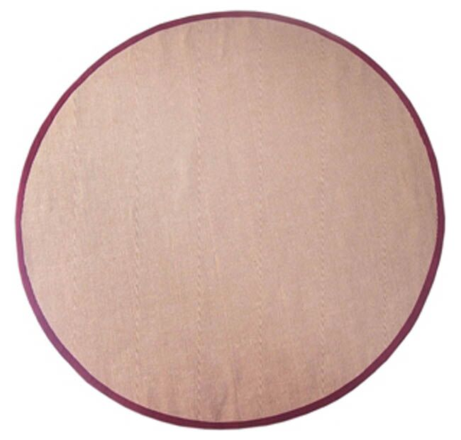 Sisal Natural/Red Rug Rug Size: Round 6'
