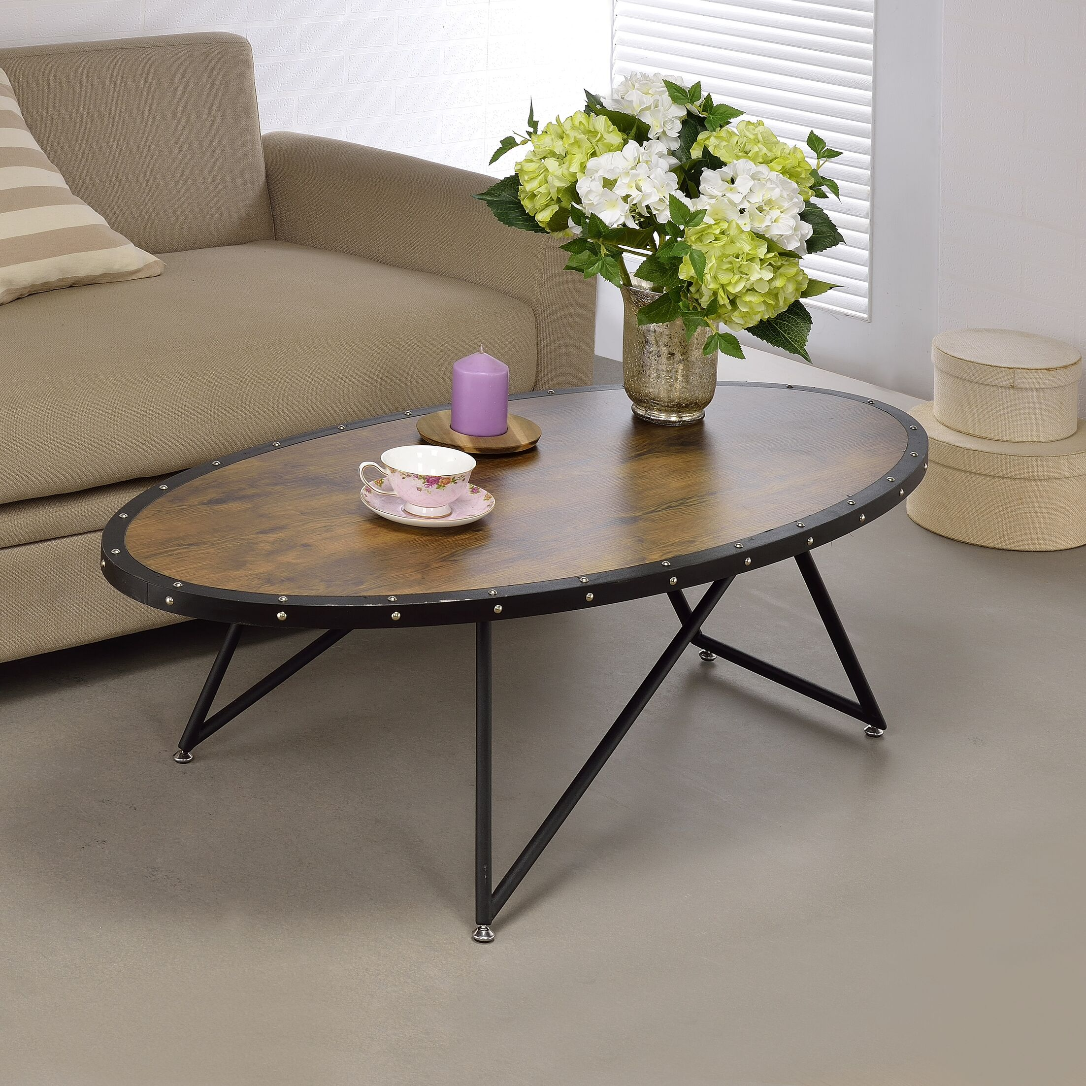 Bova Coffee Table Top Color: Brown/Black