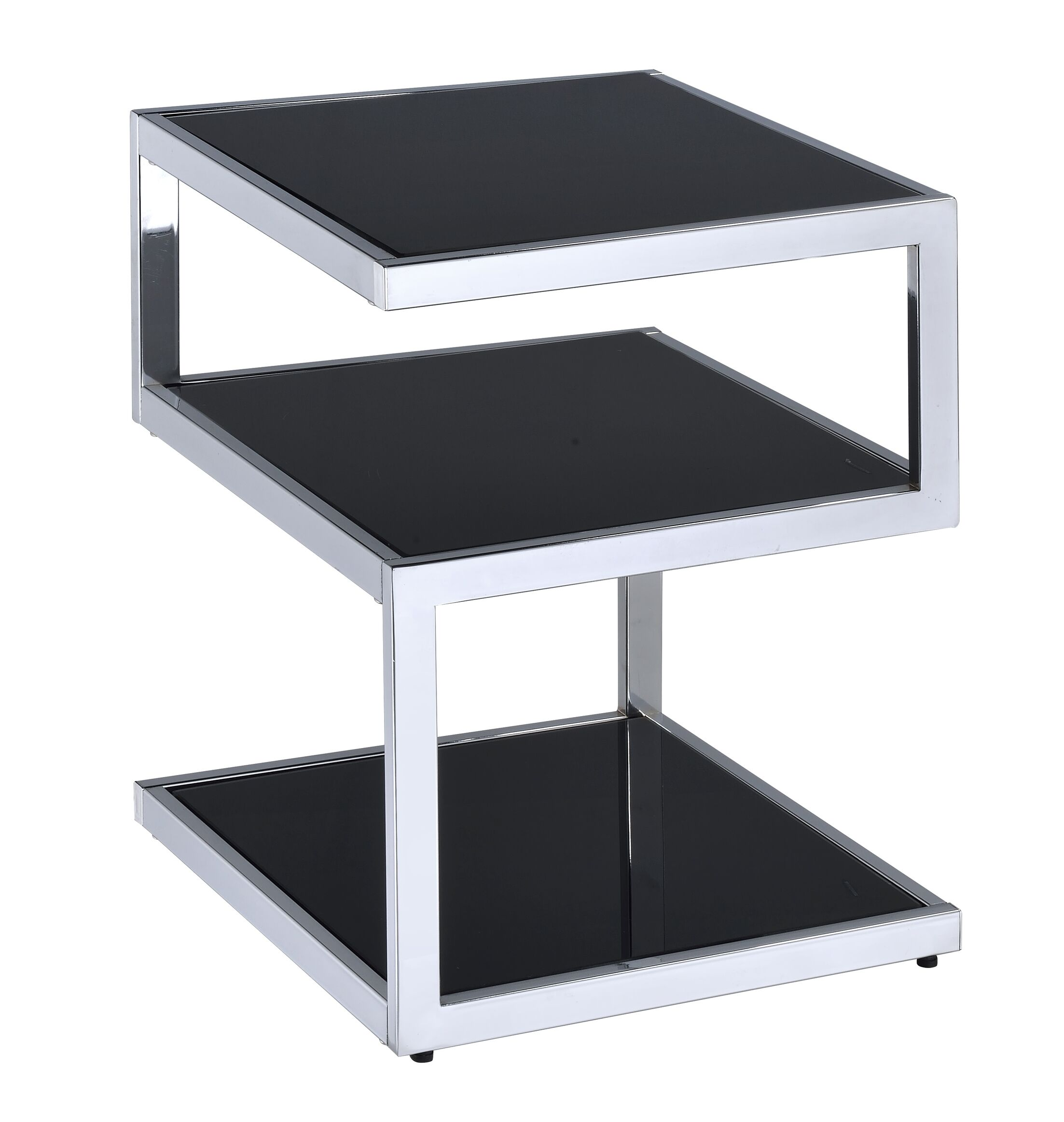 Miraloma End Table Color: Black Glass/Chrome
