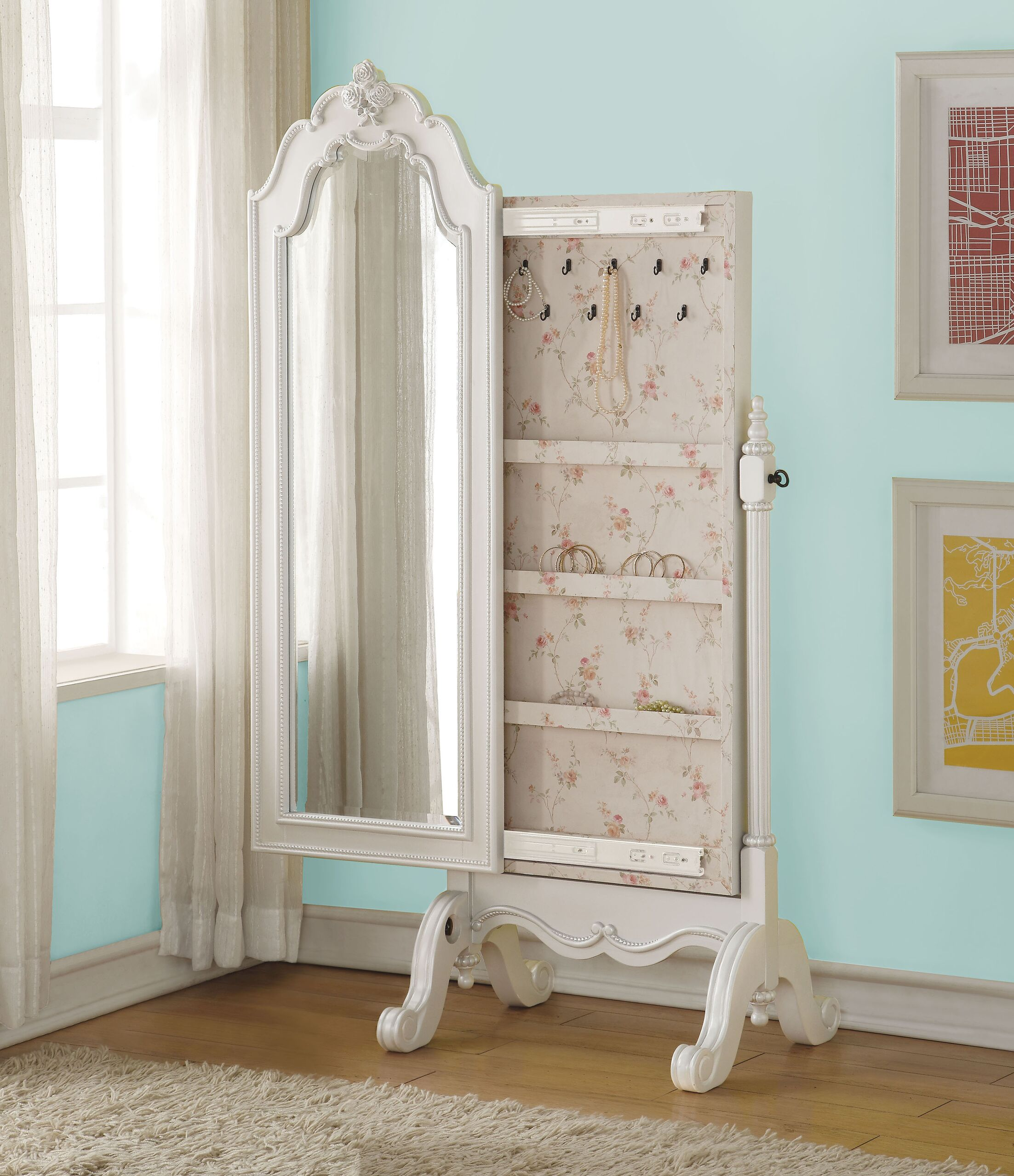 Schechter Cheval Free Standing Jewelry Armoire with Mirror