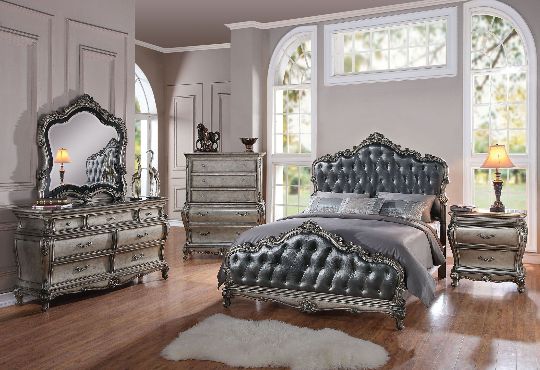 Casanovia Tufted Upholstered Panel Bed Size: Eastern King, Color: Antique Platinum/Silver Gray
