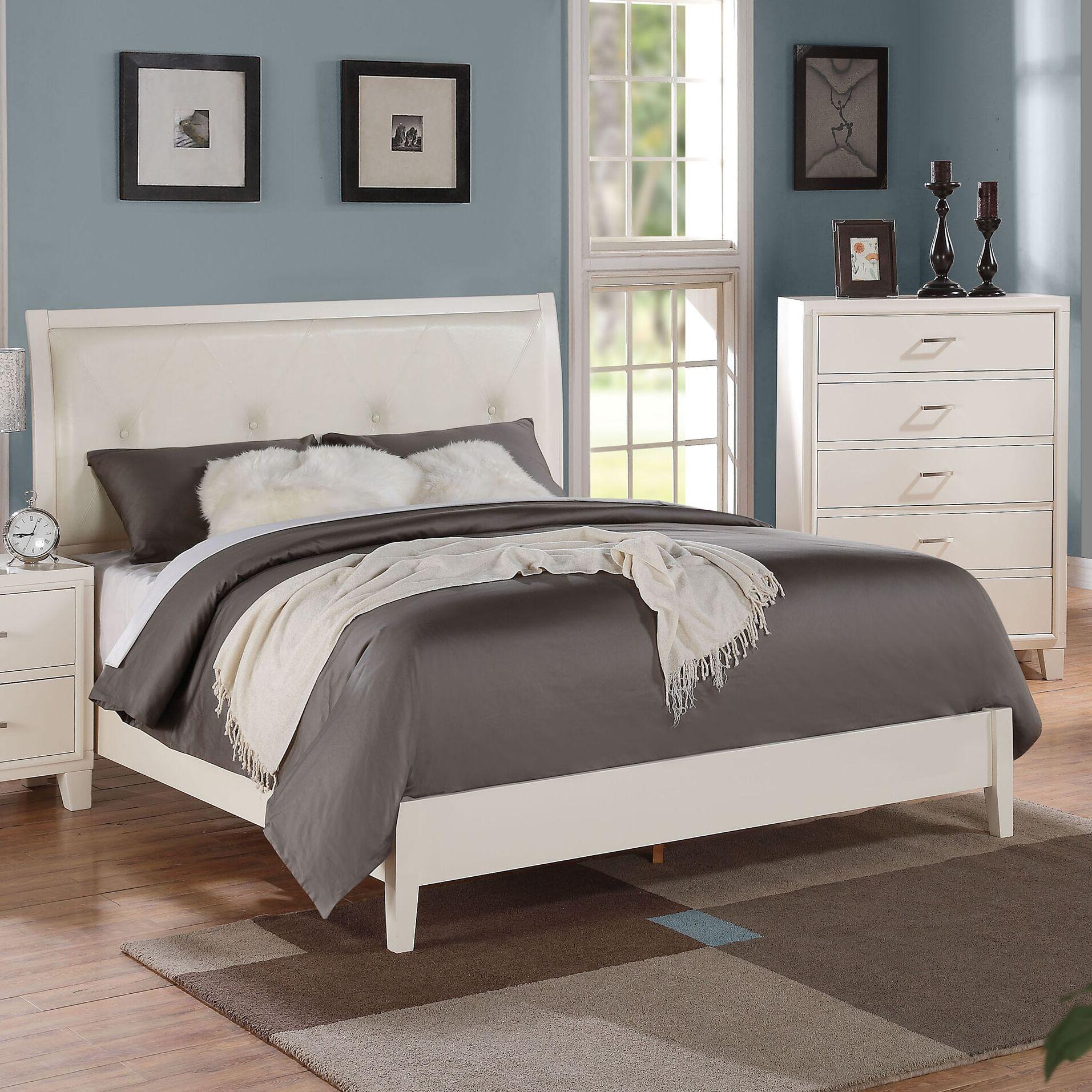 Bari Upholstered Panel Bed Color (Frame/Headboard): White/Cream, Size: Eastern King