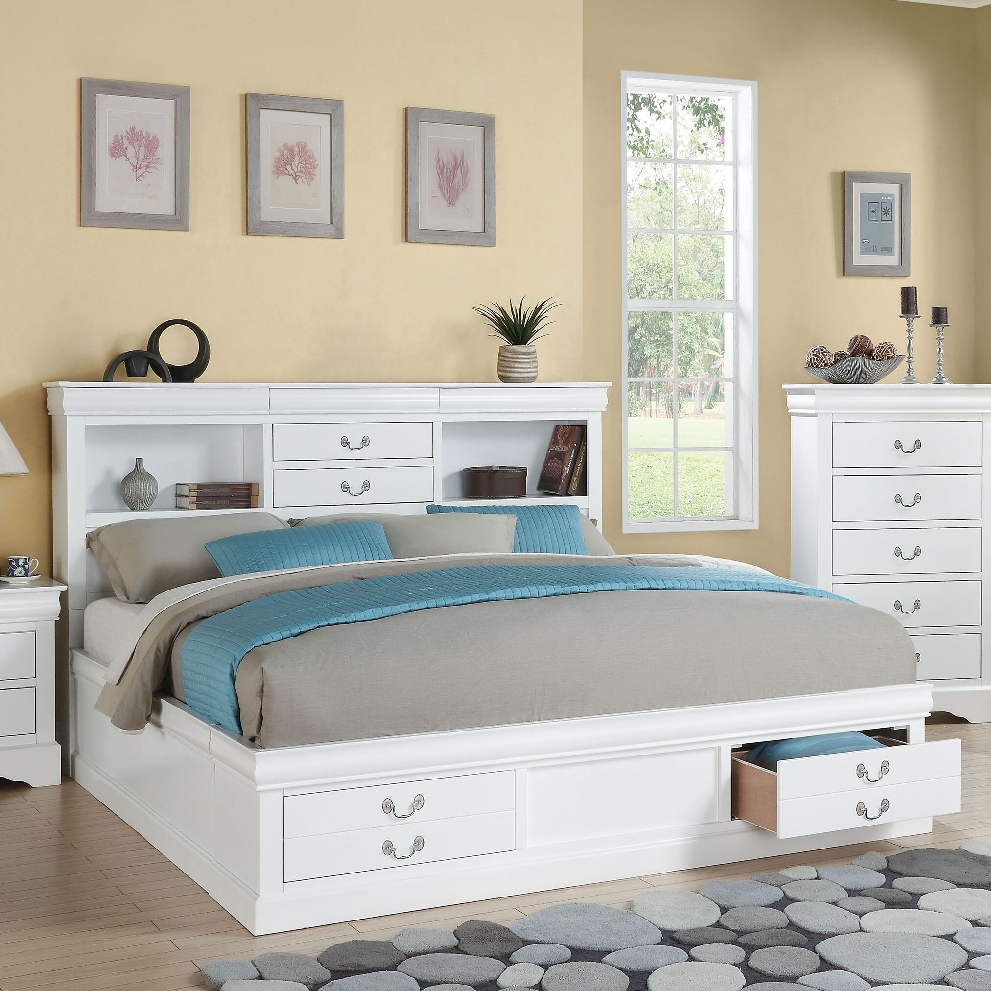 Whispering Pines Storage Platform Bed Size: California King, Color: White