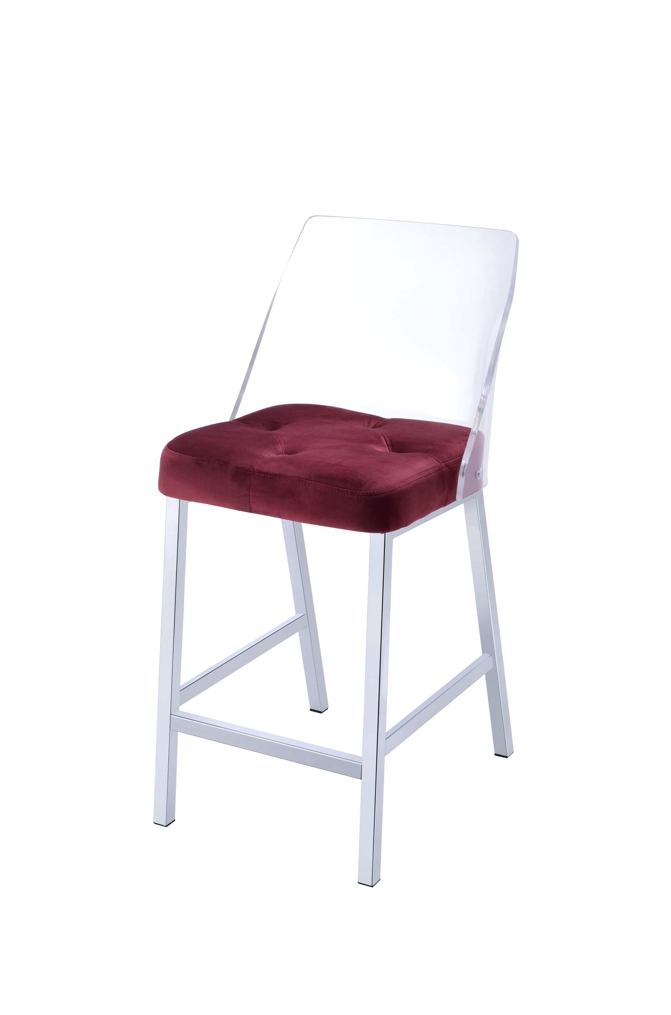 Langhorne Counter Height Upholstered Dining Chair Upholstery Color: Burgundy