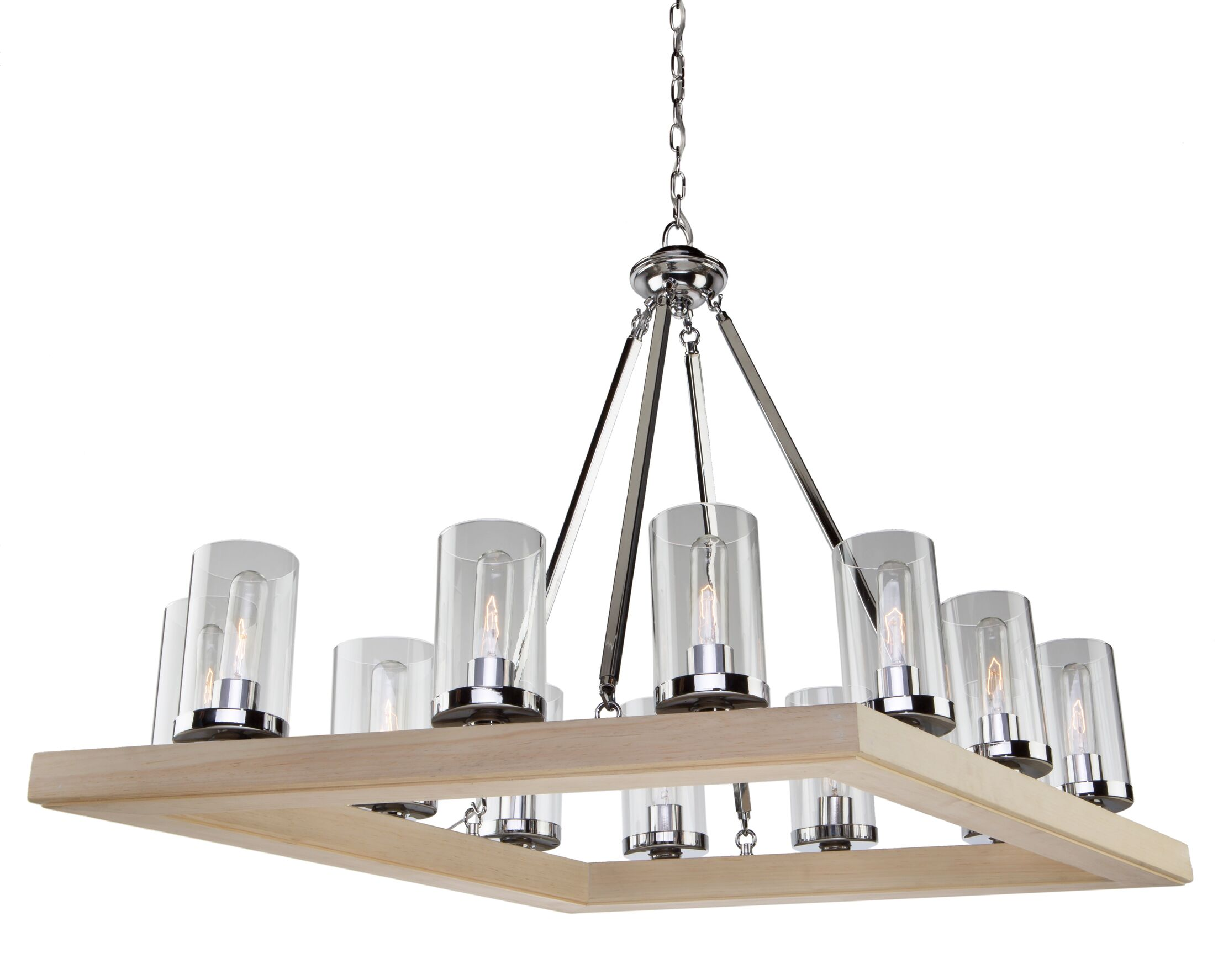 Canyon Creek 12-Light Square/Rectangle Chandelier Finish: Natural Organic Wood