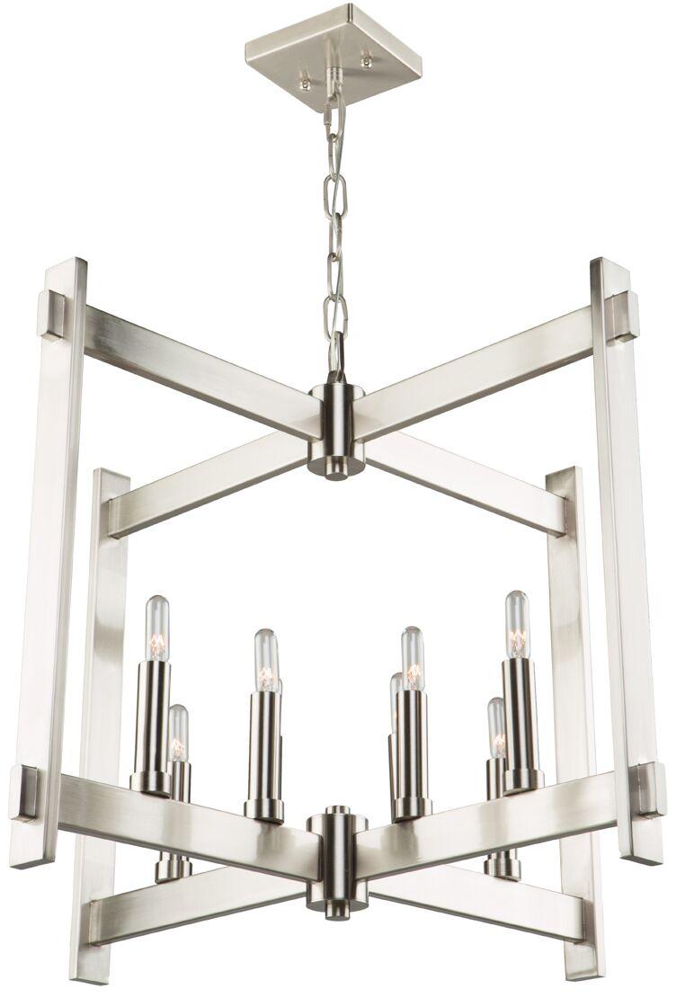 Moumoune 8-Light Square/Rectangle Chandelier Finish: Polished Nickel