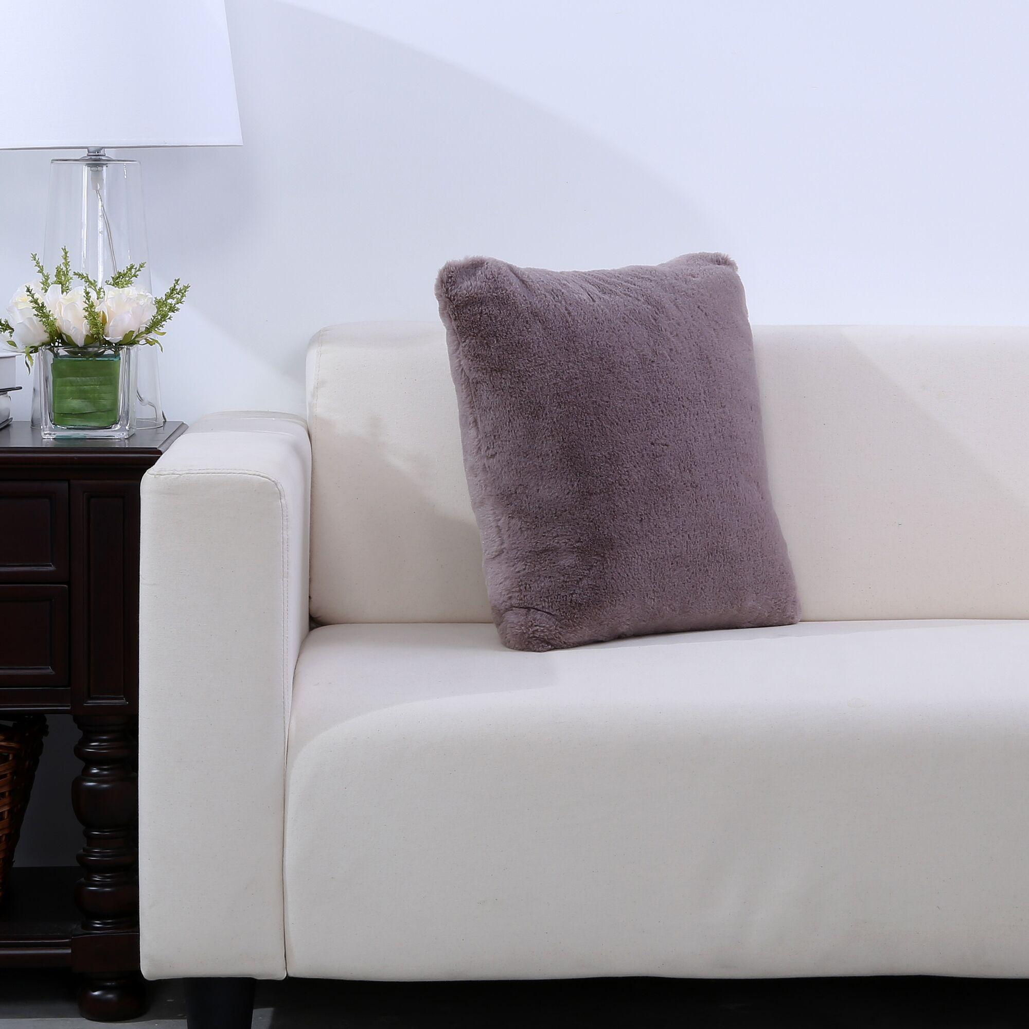Grace Fashion Fur Throw pillow Color: Desert Taupe