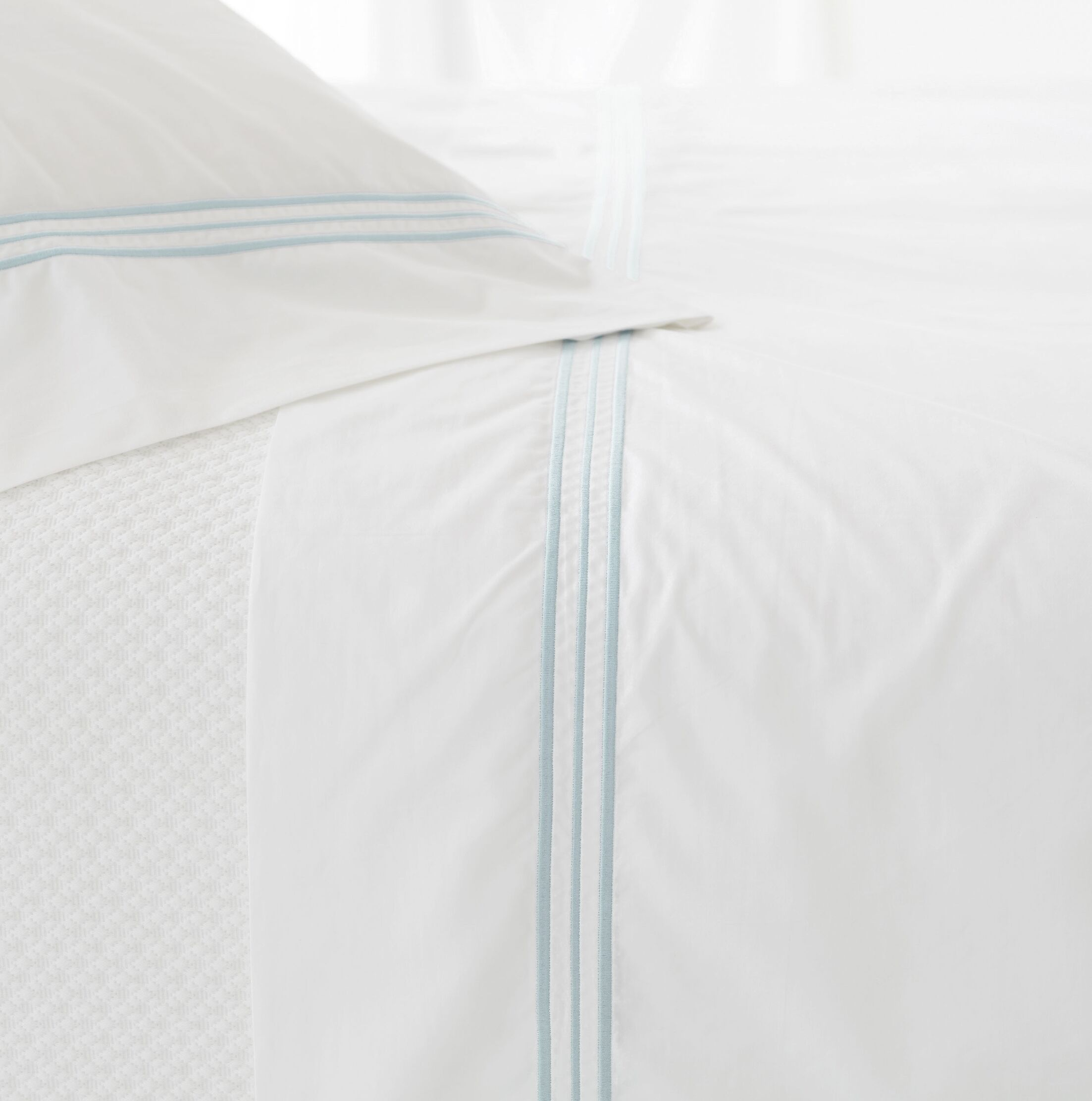 Trio 400 Thread Count 100% Cotton Flat Sheet Size: Twin, Color: Sky