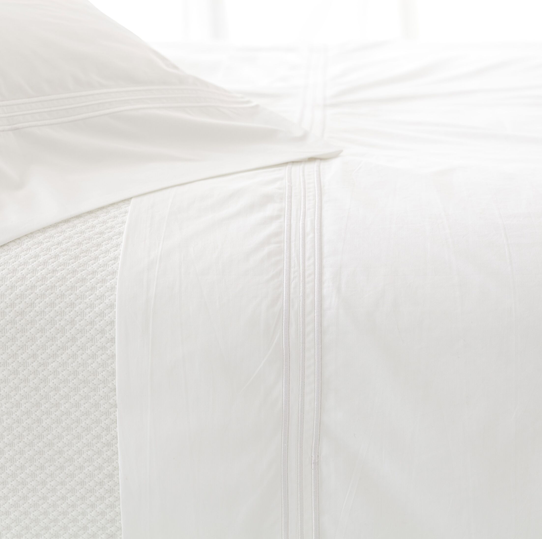 Trio 400 Thread Count 100% Cotton Flat Sheet Color: White, Size: King