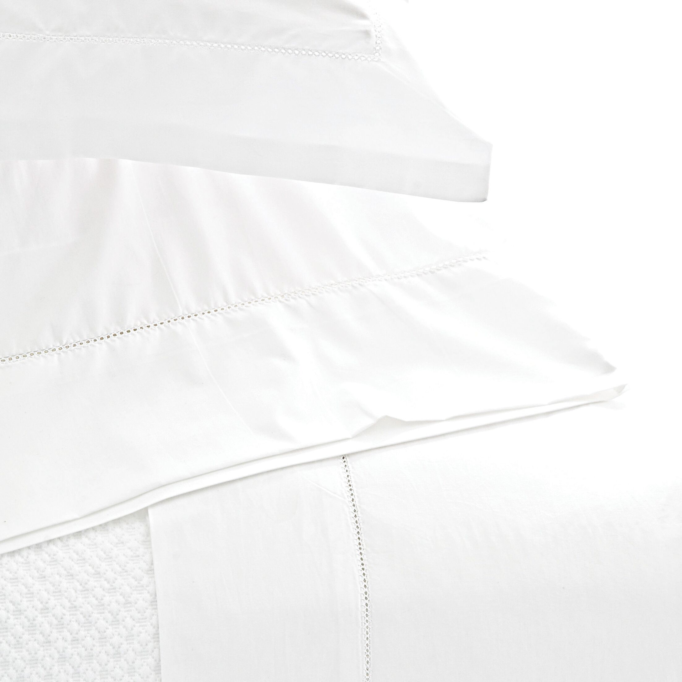 Classic Hemstitch 400 Thread Count 100% Cotton Sheet Set Size: King, Color: White