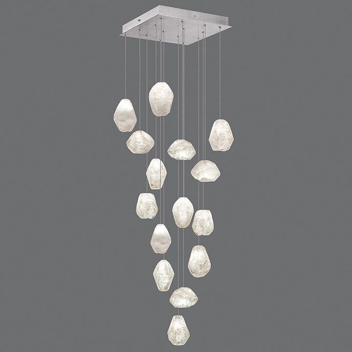 Natural Inspirations 15-Light Cluster Pendant Finish: Platinized Silver, Shade Color: Clear