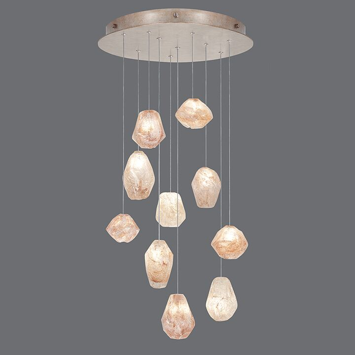 Natural Inspirations 10-Light Cluster Pendant Finish: Gold Toned Silver, Shade Color: Natural