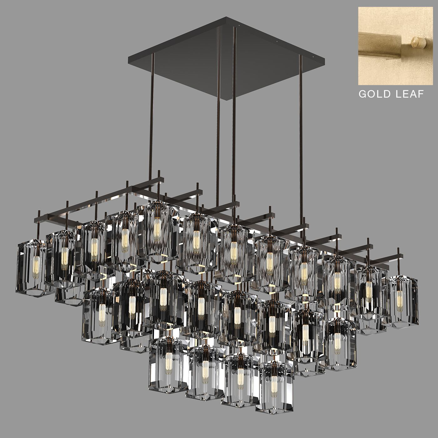 Monceau 40-Light Square/Rectangle Chandelier Finish: Gold