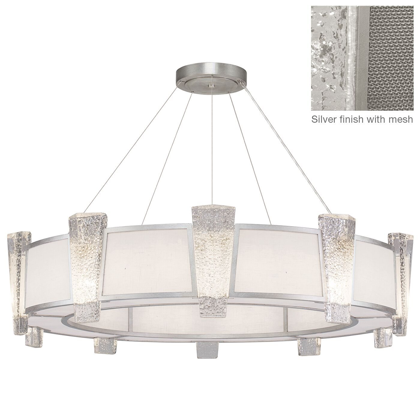 Crownstone 20-Light Chandelier Finish: Silver, Shade Material: Fabric