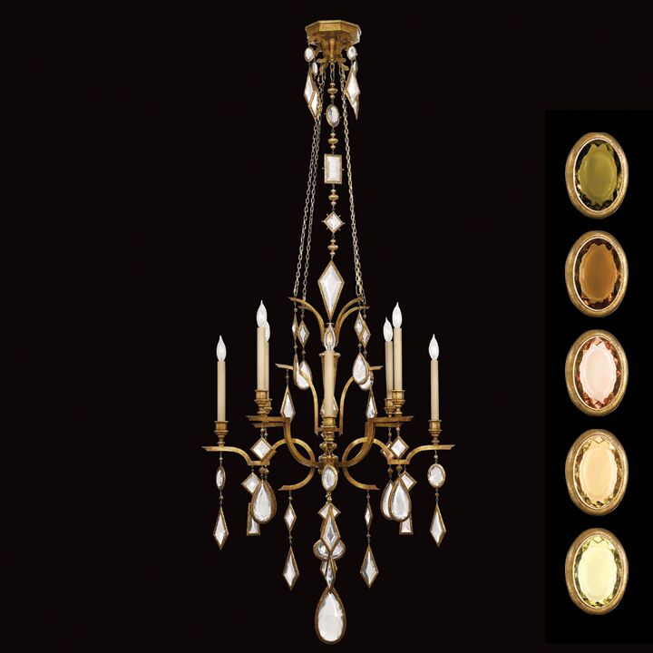 Encased Gems 8-Light Chandelier Crystal: Multicolor