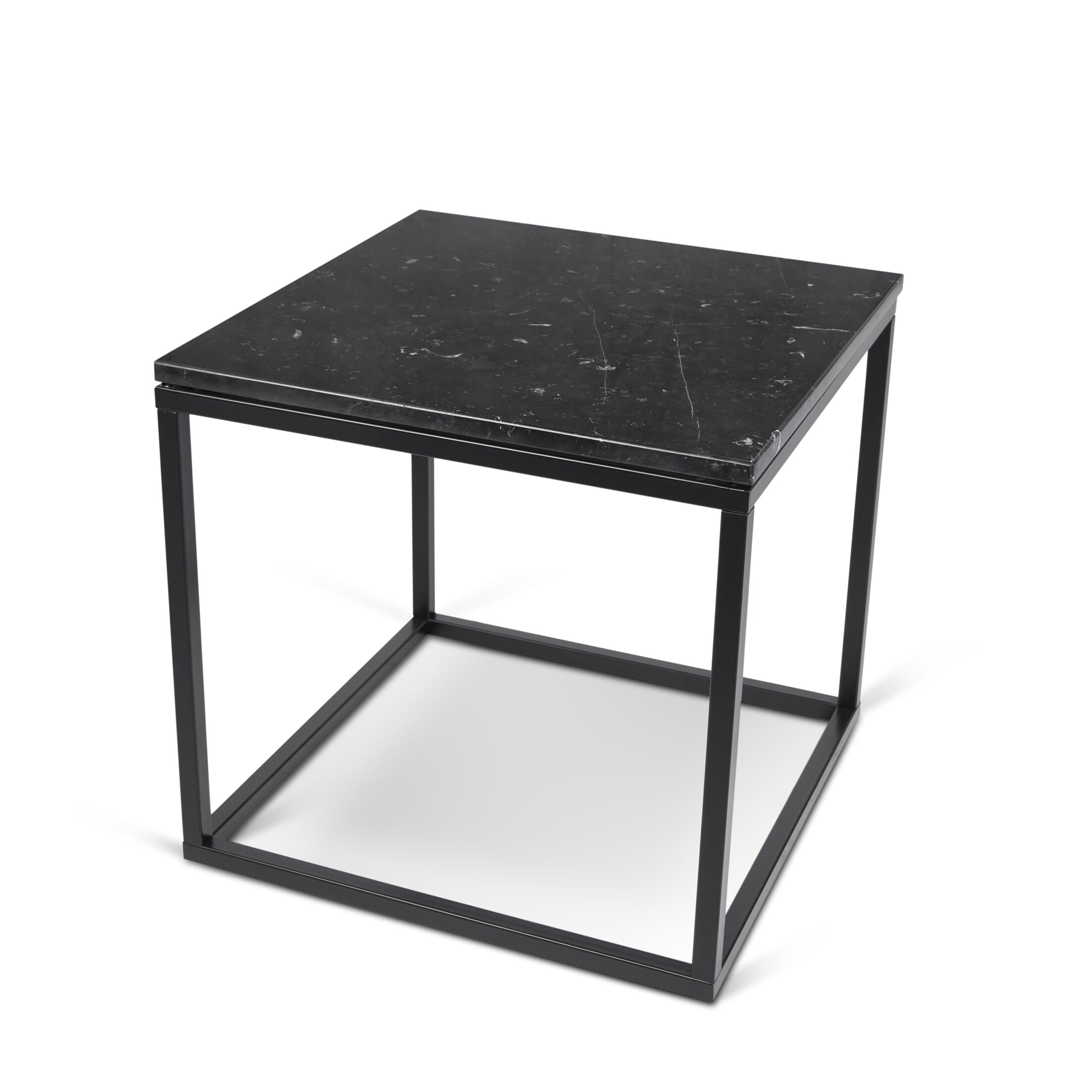 Prairie End Table Table Base Color: Chrome, Table Top Color: Black