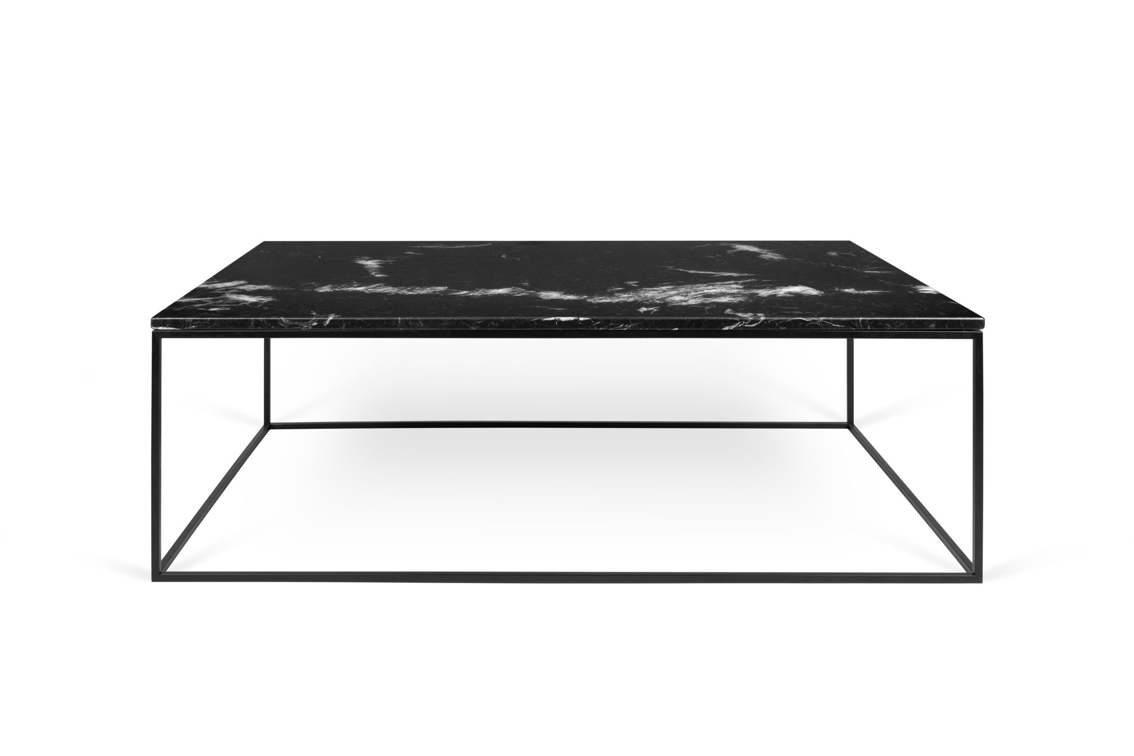 Soltane Coffee Table Top Color: Black Marble, Base Color: Black Lacquered Steel