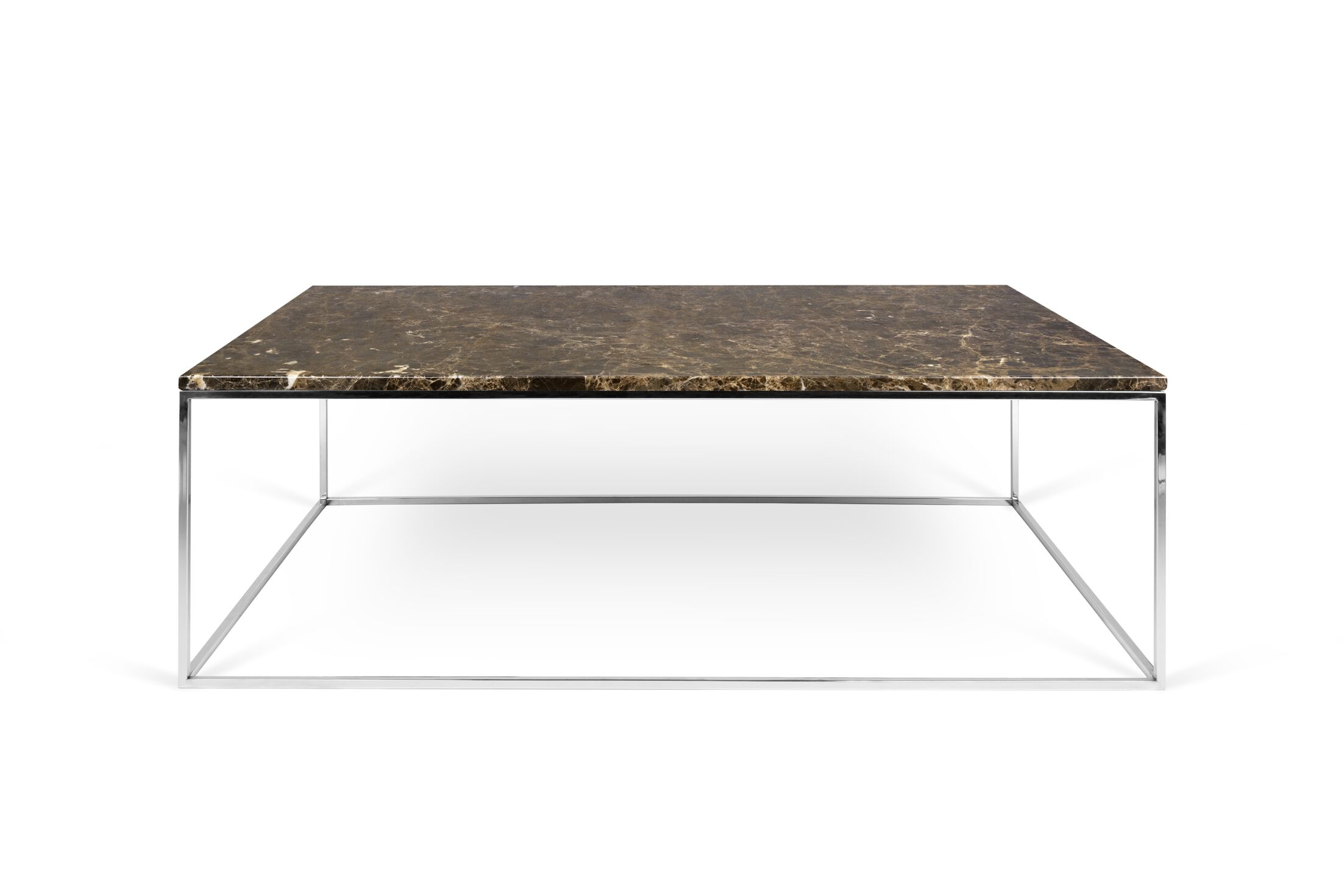 Soltane Coffee Table Top Color: Brown Marble, Base Color: Chrome