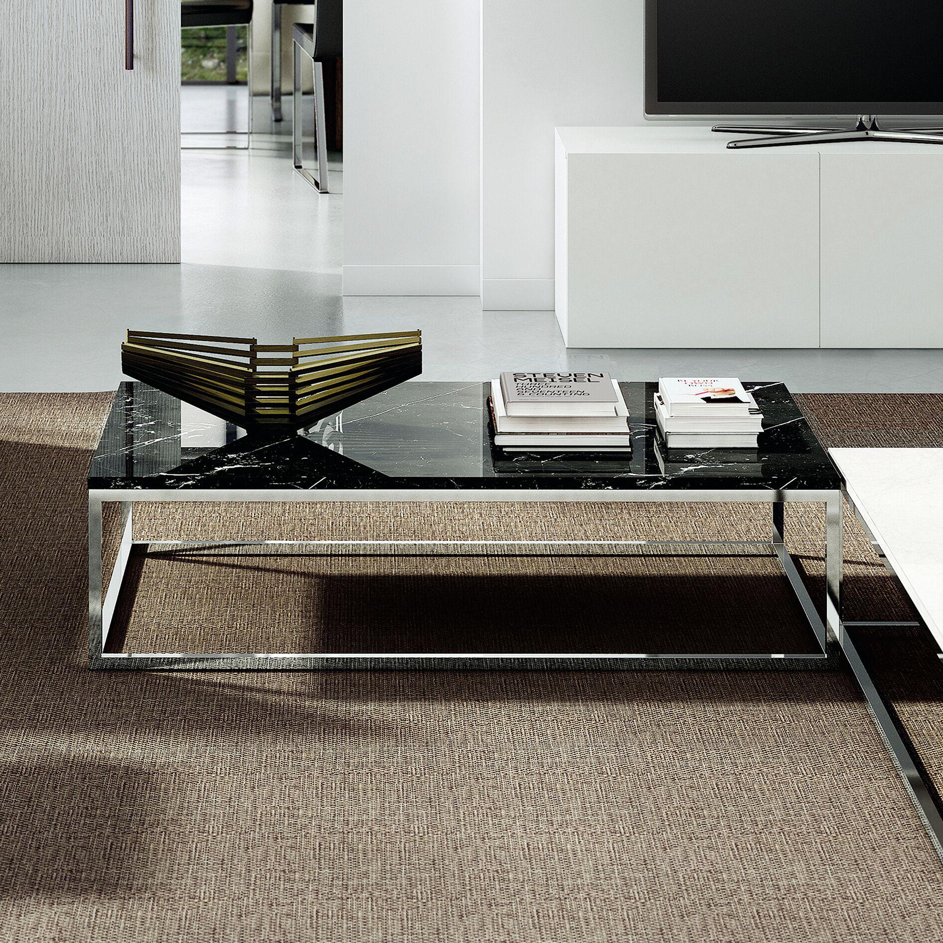 Prairie Marble Coffee Table Base Color: Black Steel, Top Color: Black Marquina