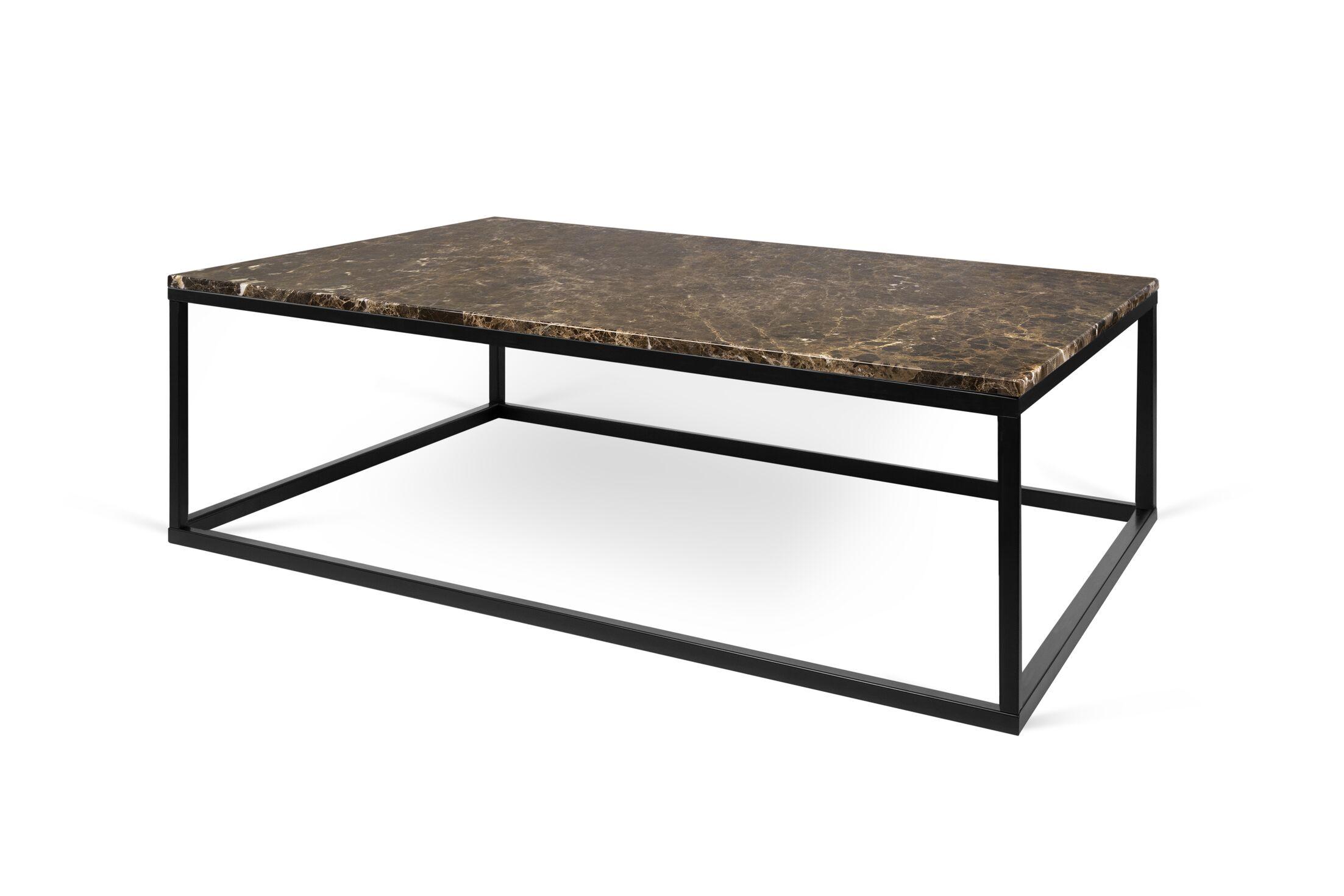 Prairie Marble Coffee Table Base Color: Black Steel, Top Color: Emperador