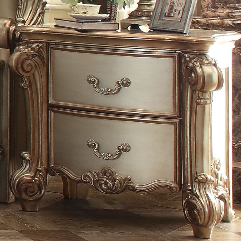 Welles 2 Drawer Nightstand Color: Gold Patina/Bone