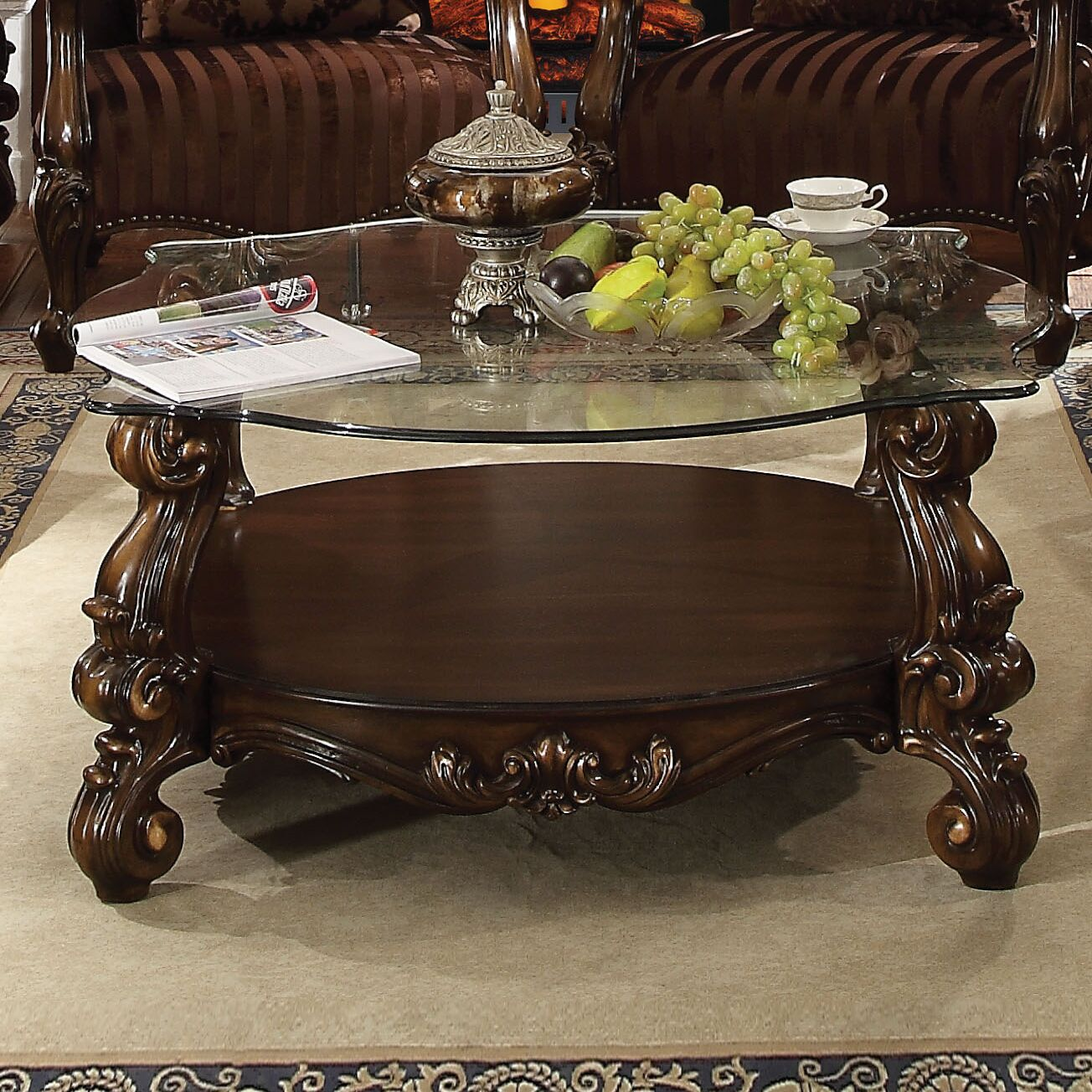 Welton Glass Top Coffee Table Base Color: Cherry Oak