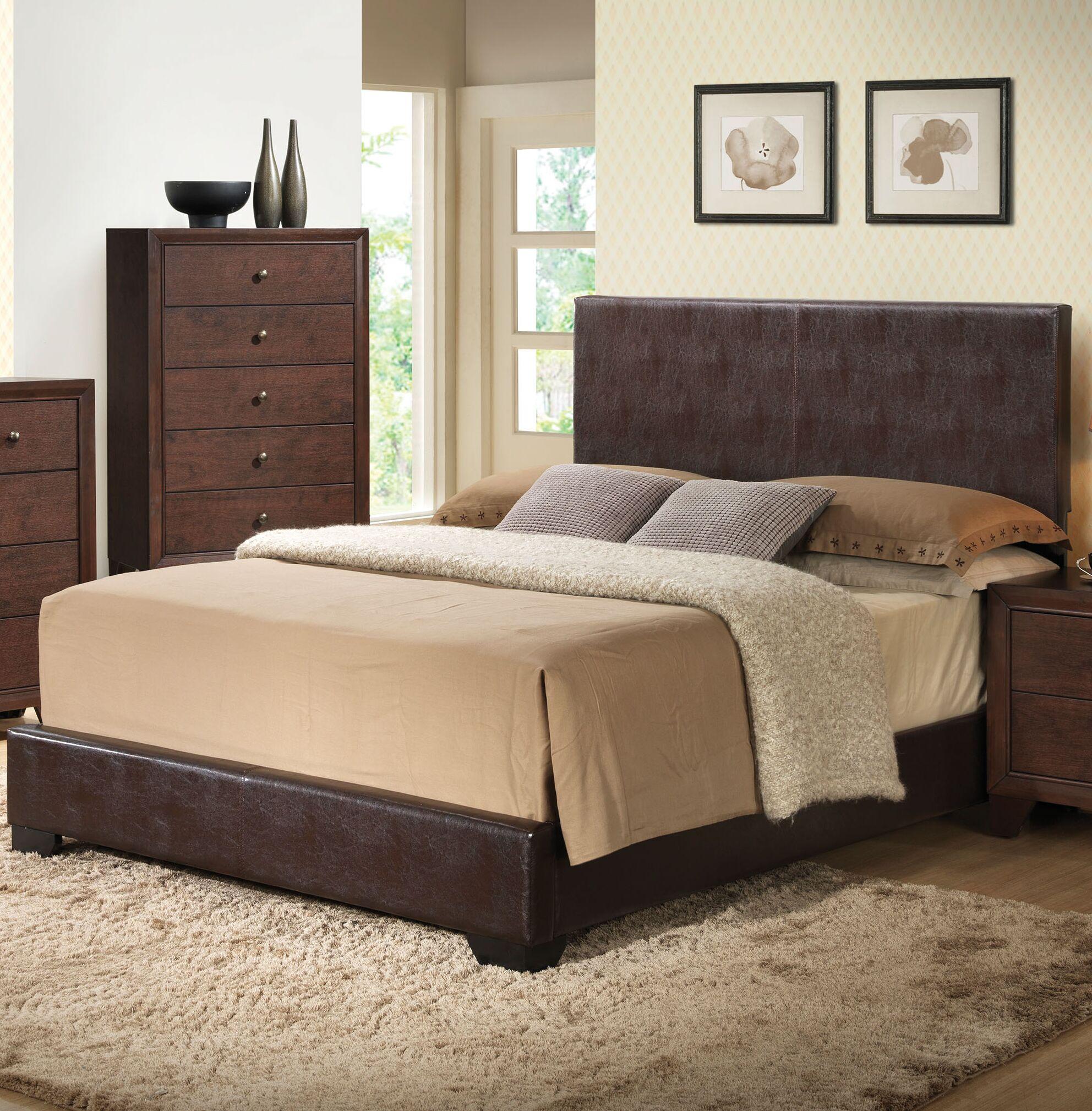 Oge Upholstered Panel Bed Color: Black, Size: Full