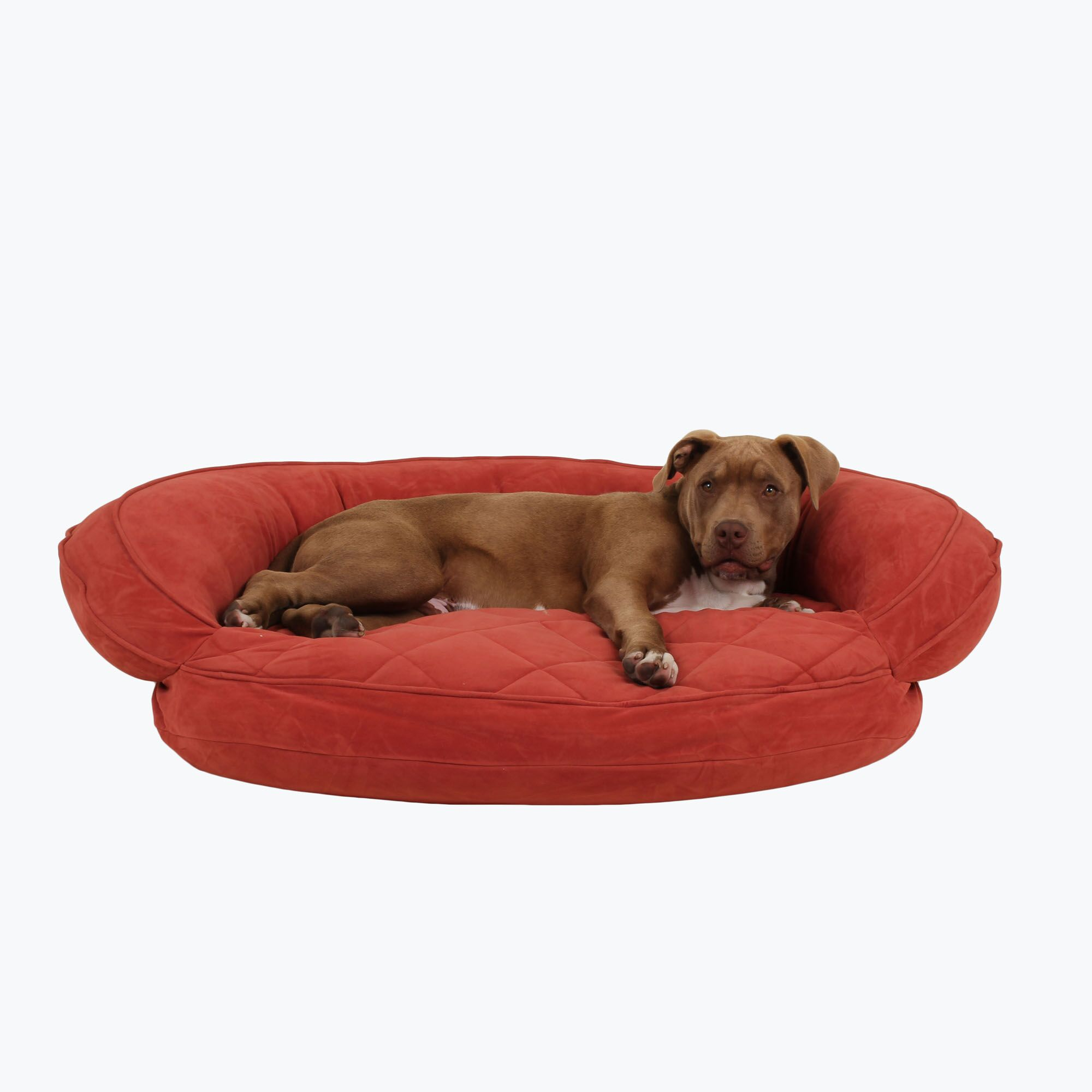 Microfiber Quilted Bolster Bed with Moisture Barrier Protection Color: Red, Size: 36