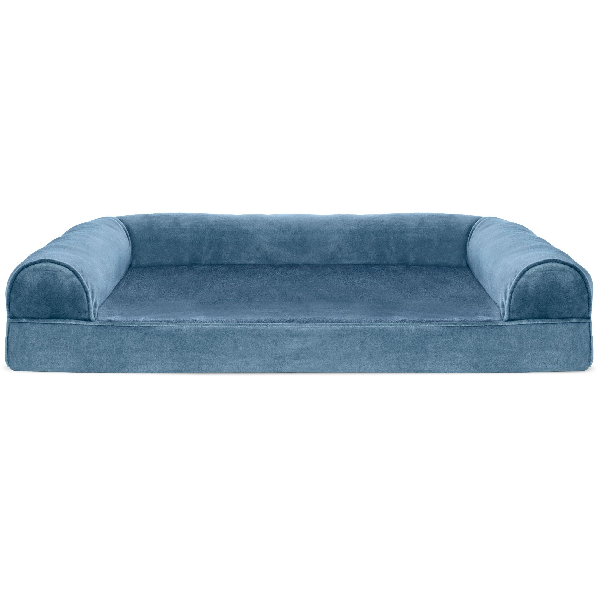 Caddy Faux Fur and Velvet Orthopedic Dog Sofa Color: Harbor Blue, Size: Extra Large (44