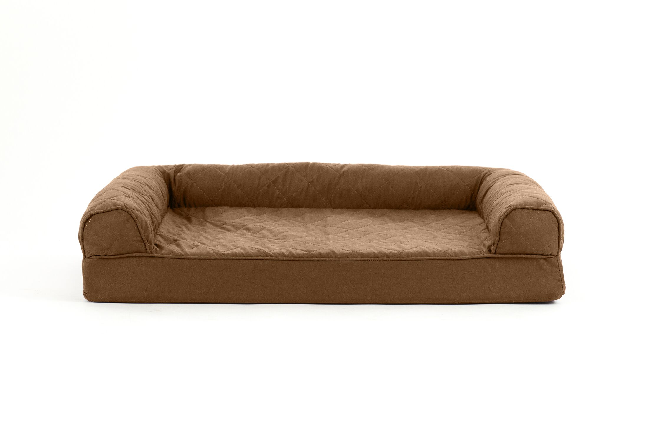 Nell Quilted Cooling Gel Dog Sofa Color: Warm Brown, Size: Large (3