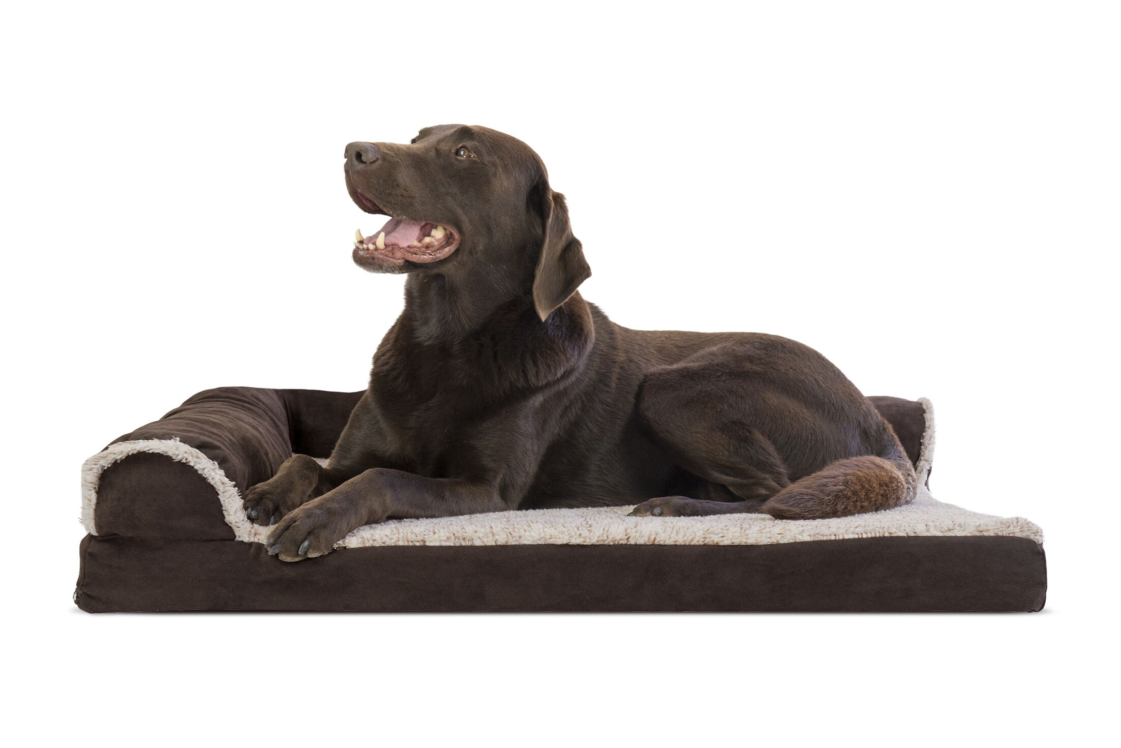 Callie Two-Tone Faux Fur and Suede Deluxe Orthopedic Dog Sofa Color: Espresso, Size: Extra Large (44