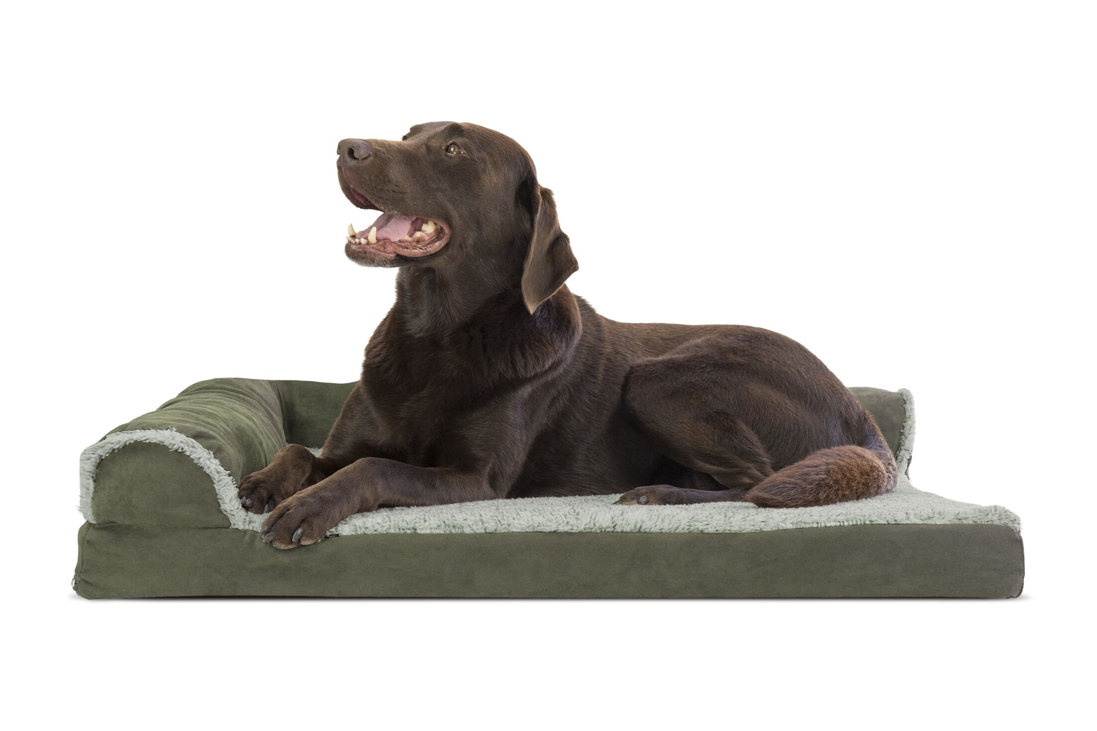 Callie Two-Tone Faux Fur and Suede Deluxe Orthopedic Dog Sofa Color: Dark Sage, Size: Large (36