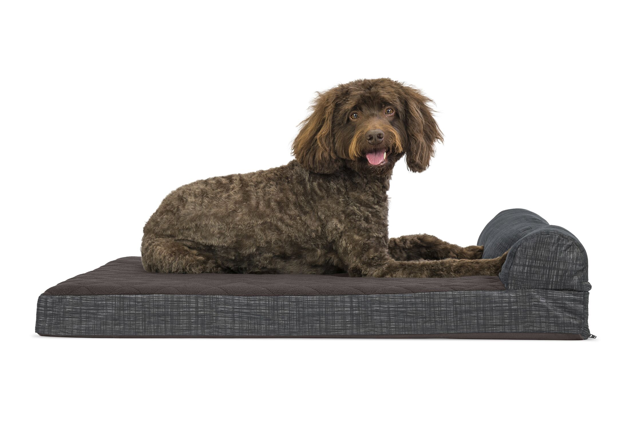 Colin Quilted Fleece and Print Suede Orthopedic Dog Sofa Color: Espresso, Size: Small  (20