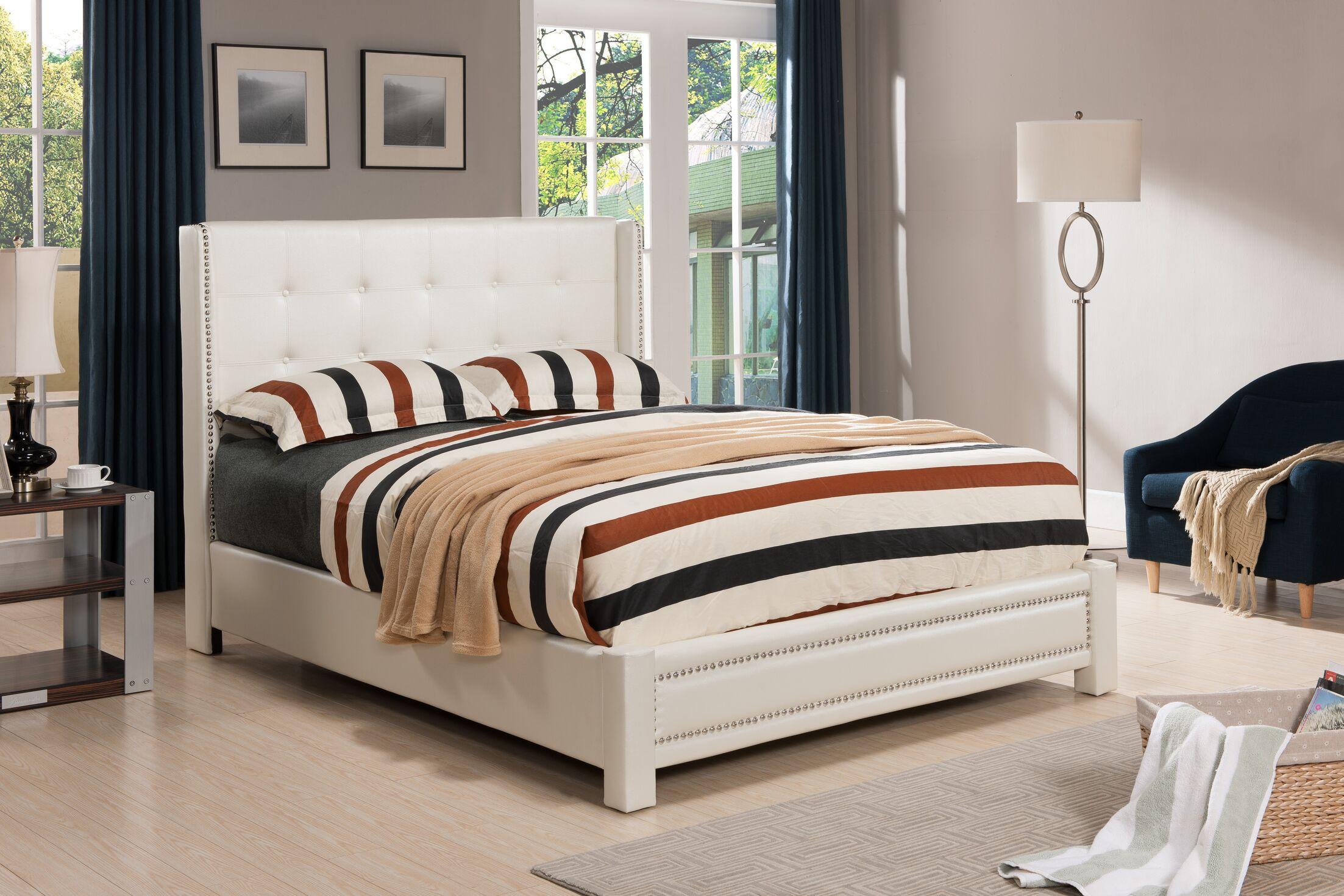 Upholstered Platform Bed Color: Ivory, Size: King