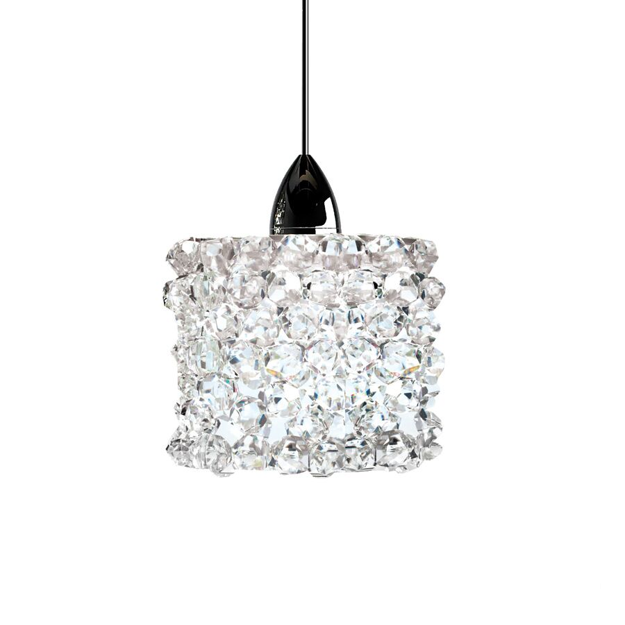 Mumford Monopoint 1-Light Crystal Pendant Finish: Chrome, Shade Color: Black Ice, Size: 3