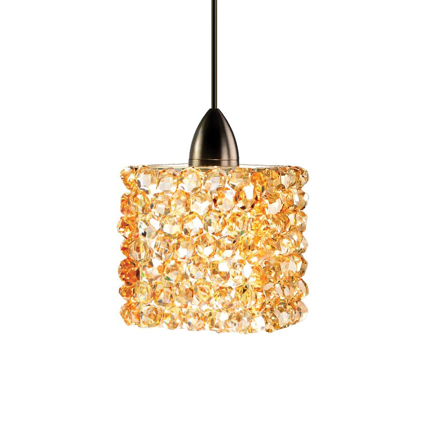 Mumford  LED Crystal Pendant Shade Color: Black Ice, Finish: Dark Bronze, Size: 3