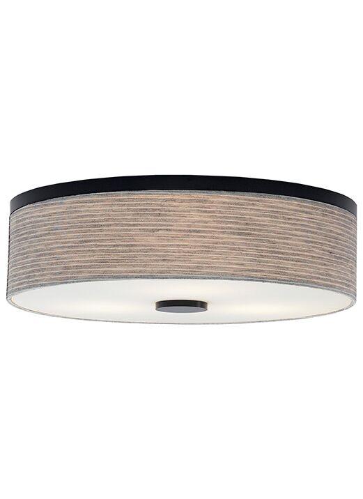 Mccubbin 3-Light Flush Mount Finish: Bronze, Shade Color: Linen, Bulb Type: Compact Fluorescent 120 V