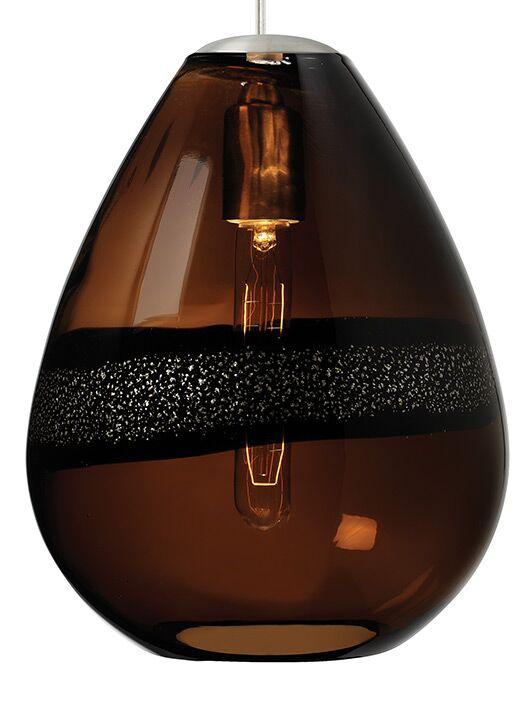 Herron Classic 1-Light Teardrop Pendant Shade Color: Dark Brown, Color: Satin Nickel
