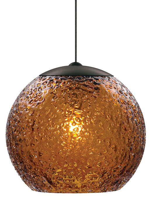 Rock Candy 1-Light Globe Pendant Finish: Bronze, Shade Color: Amber