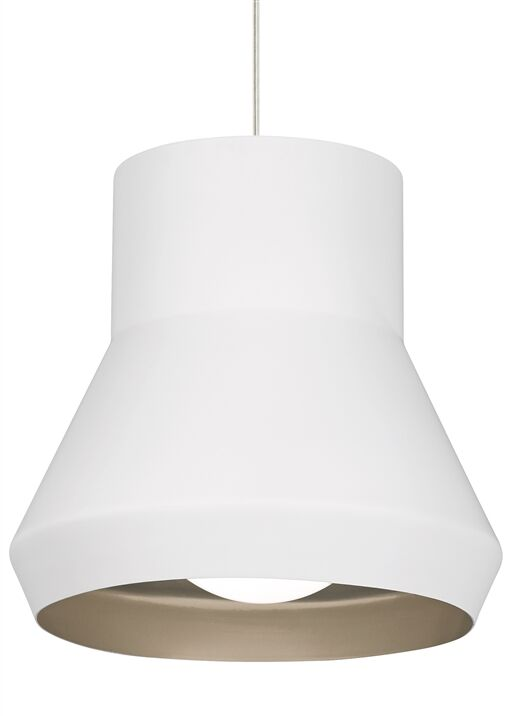 1-Light Bell Pendant Bulb Type: Incandescent, Shade Color: White/Chartreuse