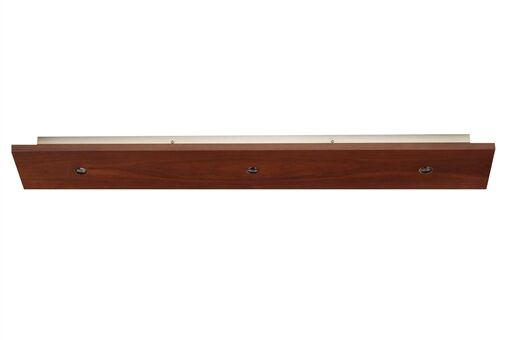 3-Light Rectangle Long Fusion Jack Canopy Bulb Type: Incandescent, Finish: Satin Nickel, Shade Color: Walnut Wood