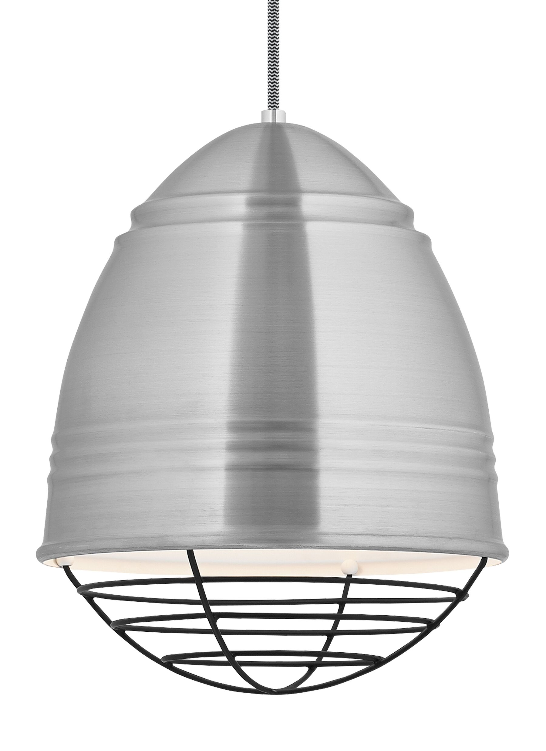 Else 1-Light Bell Pendant Finish: Brushed�Aluminum/White, Bulb Type: LED, Shade Color: Polished Nickel