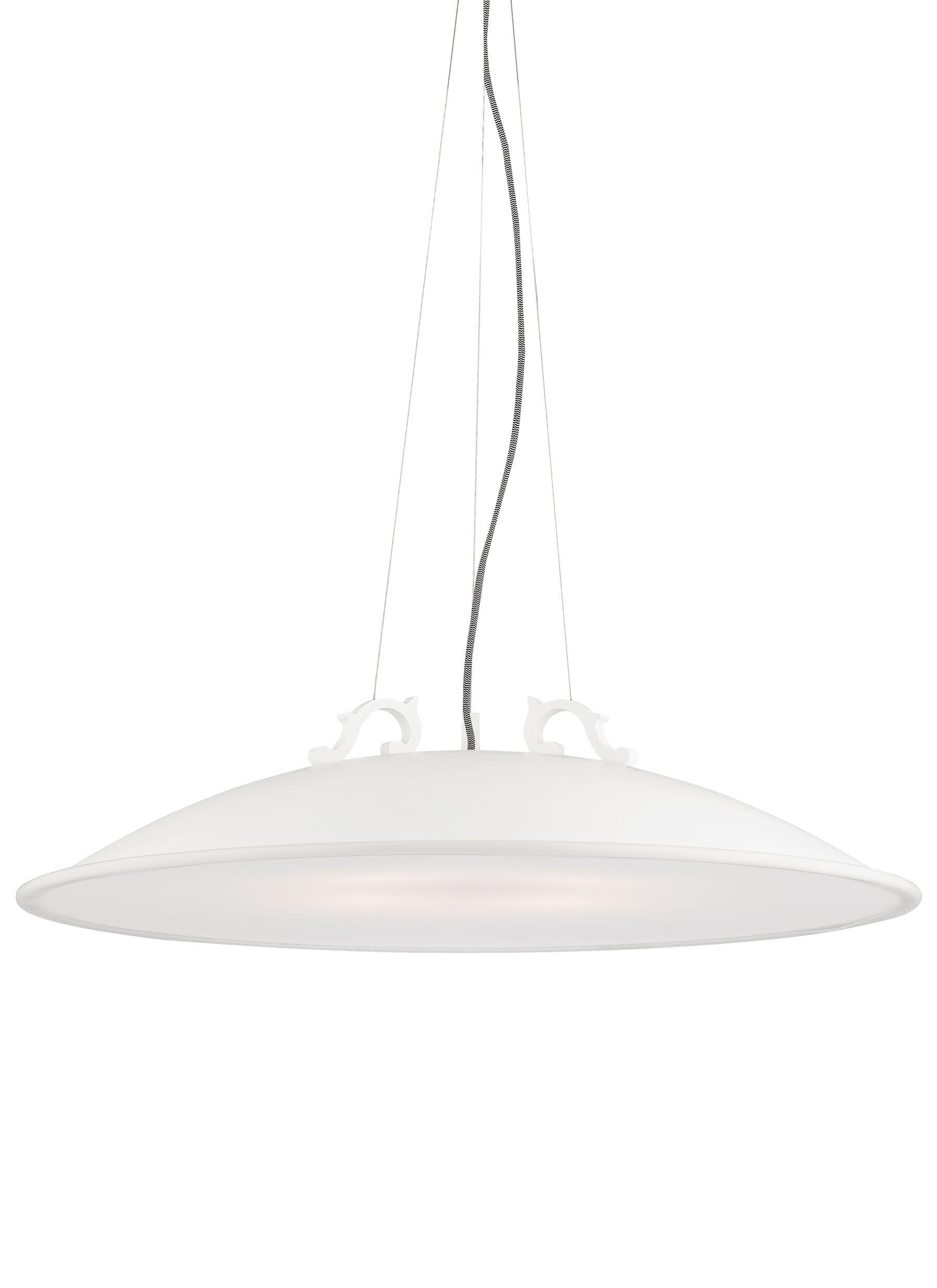 Malka Grande 3-Light Bowl Pendant Bulb Type: Compact�Fluorescent 120V, Finish: Rubberized White