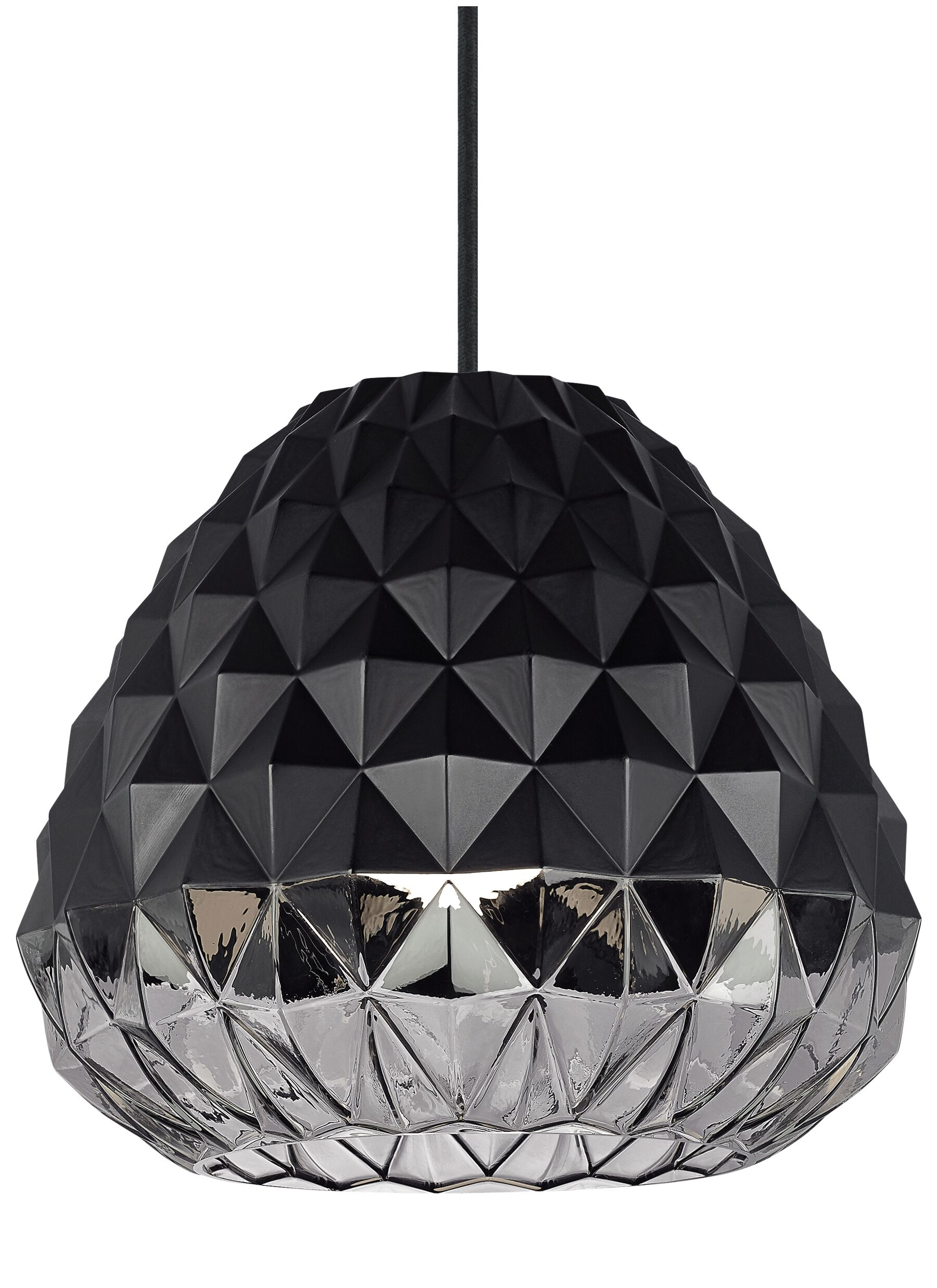 Facette 1-Light Geometric Pendant Finish: Black/Smoke