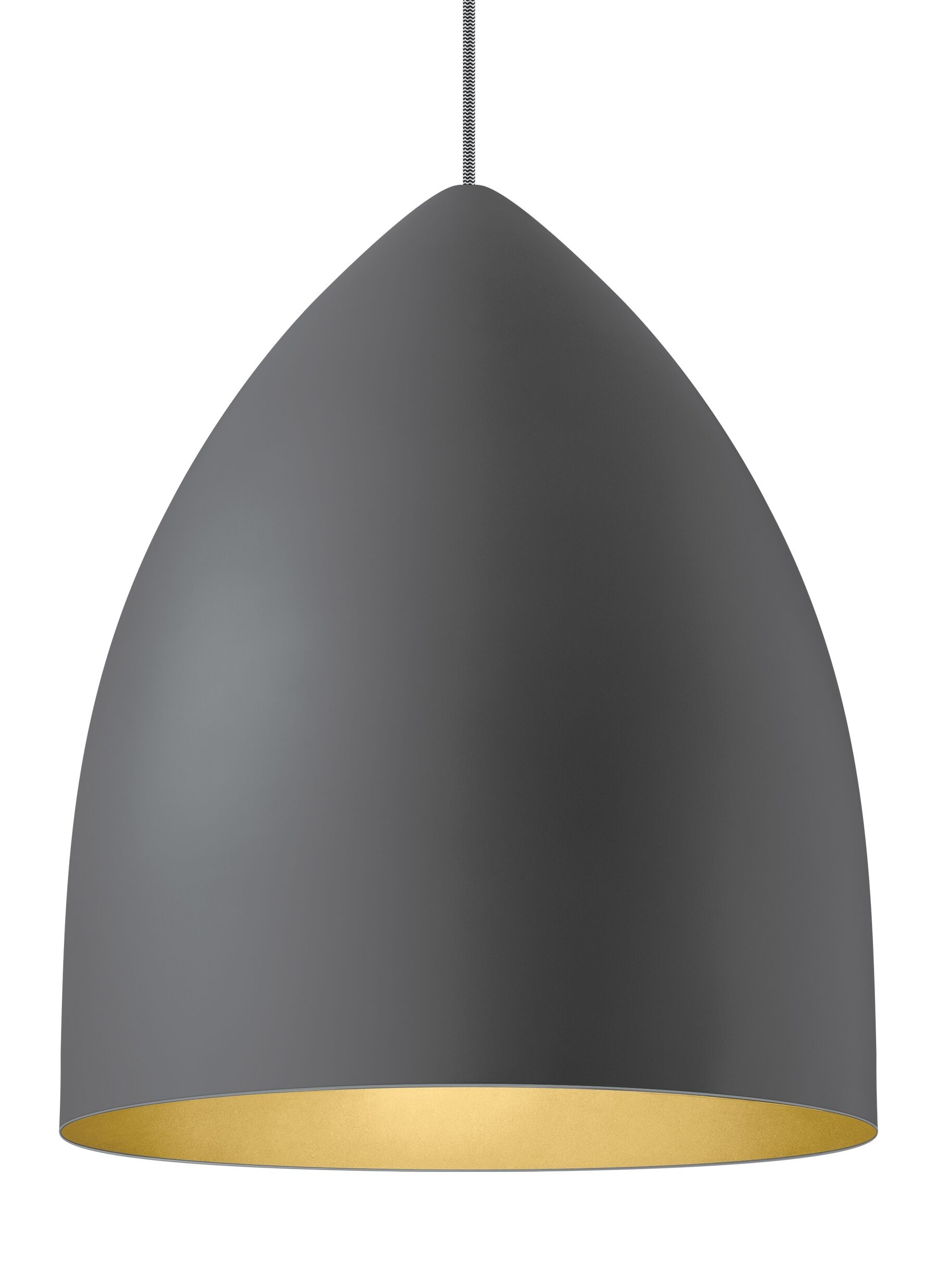 1-Light Cone Pendant Shade Color: Rubberized Gray/Gold